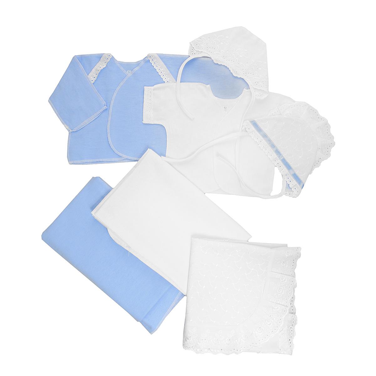 Комплект для новорожденного Трон-Плюс, 7 предметов, цвет: белый, голубой. 3403. Размер 62, 3 месяца3403Комплект для новорожденного Трон-плюс - это замечательный подарок, который прекрасно подойдет для первых дней жизни малыша. Комплект состоит из двух распашонок, двух чепчиков, уголка и двух пеленок. Комплект изготовлен из натурального хлопка, благодаря чему он необычайно мягкий и приятный на ощупь, не сковывает движения младенца и позволяет коже дышать, не раздражает даже самую нежную и чувствительную кожу ребенка, обеспечивая ему наибольший комфорт. Легкая распашонка с короткими рукавами выполнена швами наружу. Изделие украшено вышивкой, а рукава декорированы ажурными рюшами.Теплая распашонка с запахом выполнена швами наружу. Декорирована распашонка ажурными рюшами. Чепчик защищает еще не заросший родничок, щадит чувствительный слух малыша, прикрывая ушки, и предохраняет от теплопотерь. Комплект содержит два чепчика: один - легкий мягкий чепчик с завязками выполнен швами наружу и украшен вышивками, а второй - теплый чепчик выполнен из футера швами наружу и украшен вышивкой и ажурными рюшами. Очаровательный уголок, выполненный из натурального хлопка и украшенный кружевом, необычайно мягкий и легкий, не раздражает нежную кожу ребенка и хорошо вентилируется, а эластичные швы приятны телу младенца. Уголок обеспечивает вашему ребенку комфорт! Пеленка станет незаменимым помощником в деле ухода за ребенком. В комплект входят две пеленки: легкая из мадаполама и теплая из футера. В таком комплекте ваш малыш будет чувствовать себя комфортно, уютно и всегда будет в центре внимания!