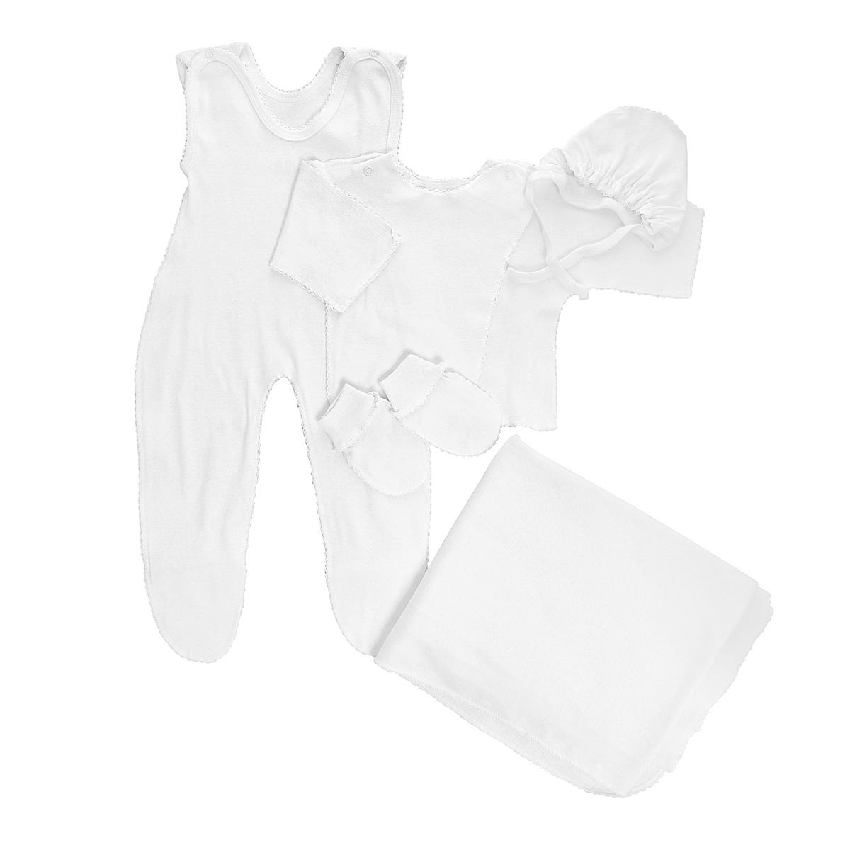 Комплект для новорожденного Трон-Плюс, 5 предметов, цвет: белый. 7127. Размер 56, 1 месяц7127Комплект для новорожденного Трон-плюс - это замечательный подарок, который прекрасно подойдет для первых дней жизни малыша. Комплект состоит из ползунков с грудкой и закрытыми ножками, распашонки, чепчика, рукавичек и пеленки. Комплект изготовлен из натурального хлопка, благодаря чему он необычайно мягкий и приятный на ощупь, не сковывает движения младенца и позволяет коже дышать, не раздражает даже самую нежную и чувствительную кожу ребенка, обеспечивая ему наибольший комфорт. Распашонка с запахом, застегивается при помощи двух кнопок на плечах, которые позволяют без труда переодеть ребенка. Швы выполнены наружу и обработаны ажурными петельками. Ползунки с закрытыми ножками, застегивающиеся сверху на две кнопочки, идеально подойдут вашему ребенку, обеспечивая ему наибольший комфорт. Подходят для ношения с подгузником и без него. Мягкий чепчик с завязочками защищает еще не заросший родничок, щадит чувствительный слух малыша, прикрывая ушки, и предохраняет от теплопотерь. Дополнен чепчик мягкой эластичной сборкой. Рукавички обеспечат вашему малышу комфорт во время сна и бодрствования, предохраняя нежную кожу новорожденного от расцарапывания. Они дополнены широкой эластичной резинкой. Пеленка станет незаменимым помощником в деле ухода за ребенком. Элементы набора выполнены швами наружу и оформлены ажурными петельками. В таком комплекте ваш малыш будет чувствовать себя комфортно, уютно и всегда будет в центре внимания!
