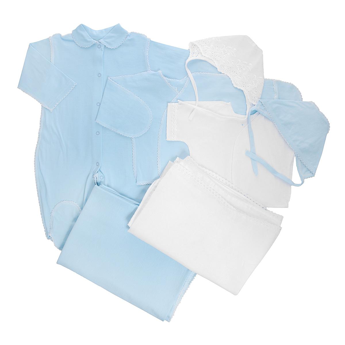 Комплект для новорожденного Трон-Плюс, 7 предметов, цвет: белый, голубой. 3472. Размер 62, 3 месяца3472Комплект для новорожденного Трон-плюс - это замечательный подарок, который прекрасно подойдет для первых дней жизни малыша. Комплект состоит из комбинезона, двух распашонок, двух чепчиков и двух пеленок. Комплект изготовлен из натурального хлопка, благодаря чему он необычайно мягкий и приятный на ощупь, не сковывает движения младенца и позволяет коже дышать, не раздражает даже самую нежную и чувствительную кожу ребенка, обеспечивая ему наибольший комфорт. Легкая распашонка с короткими рукавами выполнена швами наружу. Изделие украшено вышивкой, а рукава декорированы ажурными рюшами.Распашонка с длинными рукавами и с запахом выполнена швами наружу. Оформлено изделие ажурными петельками. Рукава дополнены рукавичками, которые обеспечат вашему малышу комфорт во время сна и бодрствования, предохраняя нежную кожу новорожденного от расцарапывания. Рукавички можно завернуть. Чепчик защищает еще не заросший родничок, щадит чувствительный слух малыша, прикрывая ушки, и предохраняет от теплопотерь. Комплект содержит два чепчика: один - легкий мягкий чепчик с завязками выполнен швами наружу и украшен вышивками, а второй - легкий мягкий чепчик также выполнен швами наружу и украшен ажурными рюшами. Очаровательный комбинезон с длинными рукавами, закрытыми ножками и отложным воротничком имеет застежки-кнопки по всей длине и на ластовице, которые помогают с легкостью переодеть ребенка или сменить подгузник. Комбинезон выполнен швами наружу и украшен ажурными петельками. Пеленка станет незаменимым помощником в деле ухода за ребенком. В комплект входят две пеленки, одна из которых украшена вышивкой и ажурными рюшами, а другая - ажурными петельками. В таком комплекте ваш малыш будет чувствовать себя комфортно, уютно и всегда будет в центре внимания!