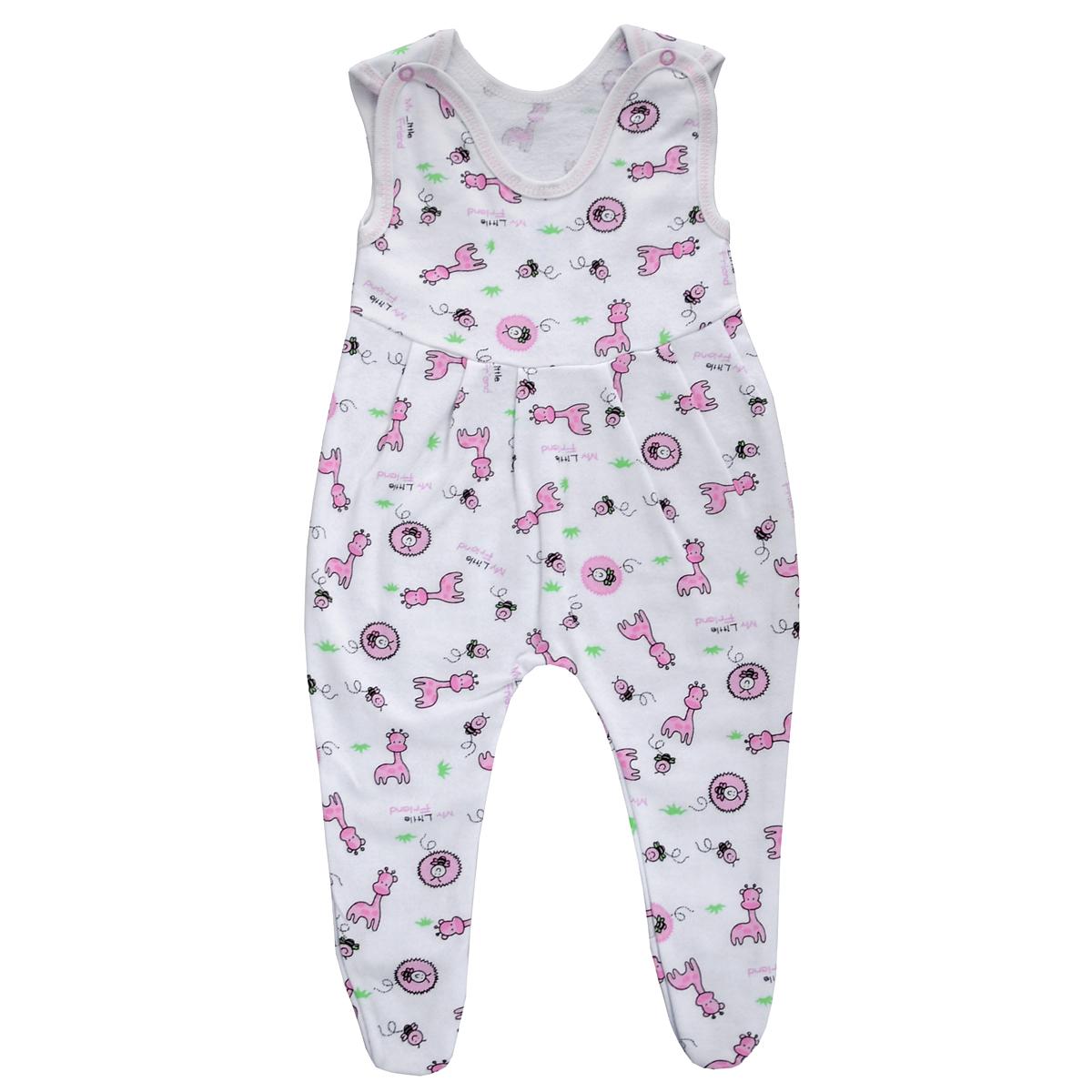 Ползунки с грудкой Трон-плюс, цвет: белый, розовый, рисунок жирафы. 5221. Размер 56, 1 месяц5221Ползунки с грудкой Трон-плюс - очень удобный и практичный вид одежды для малышей. Ползунки выполнены из футера - натурального хлопка, благодаря чему они необычайно мягкие, тепленькие и приятные на ощупь, не раздражают нежную кожу ребенка и хорошо вентилируются, а эластичные швы приятны телу младенца и не препятствуют его движениям. Ползунки с закрытыми ножками, застегивающиеся сверху на две кнопочки, идеально подойдут вашему ребенку, обеспечивая ему наибольший комфорт, подходят для ношения с подгузником и без него. От линии груди заложены складочки, придающие изделию оригинальность.Ползунки с грудкой полностью соответствуют особенностям жизни младенца в ранний период, не стесняя и не ограничивая его в движениях!