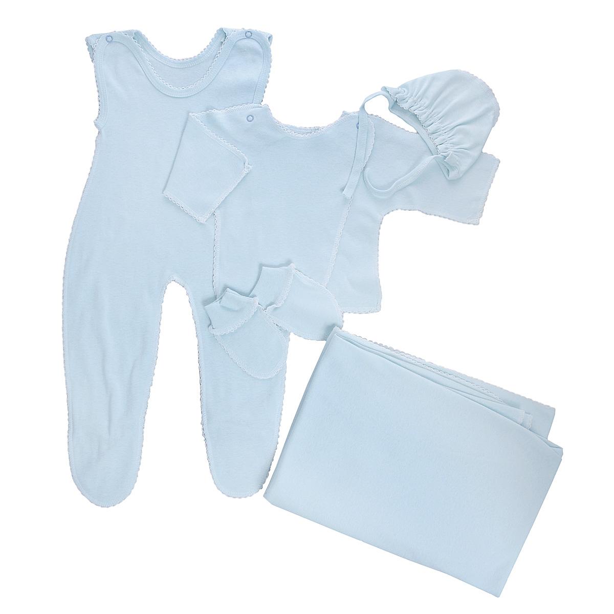 Комплект для новорожденного Трон-Плюс, 5 предметов, цвет: голубой. 7127. Размер 56, 1 месяц7127Комплект для новорожденного Трон-плюс - это замечательный подарок, который прекрасно подойдет для первых дней жизни малыша. Комплект состоит из ползунков с грудкой и закрытыми ножками, распашонки, чепчика, рукавичек и пеленки. Комплект изготовлен из натурального хлопка, благодаря чему он необычайно мягкий и приятный на ощупь, не сковывает движения младенца и позволяет коже дышать, не раздражает даже самую нежную и чувствительную кожу ребенка, обеспечивая ему наибольший комфорт. Распашонка с запахом, застегивается при помощи двух кнопок на плечах, которые позволяют без труда переодеть ребенка. Швы выполнены наружу и обработаны ажурными петельками. Ползунки с закрытыми ножками, застегивающиеся сверху на две кнопочки, идеально подойдут вашему ребенку, обеспечивая ему наибольший комфорт. Подходят для ношения с подгузником и без него. Мягкий чепчик с завязочками защищает еще не заросший родничок, щадит чувствительный слух малыша, прикрывая ушки, и предохраняет от теплопотерь. Дополнен чепчик мягкой эластичной сборкой. Рукавички обеспечат вашему малышу комфорт во время сна и бодрствования, предохраняя нежную кожу новорожденного от расцарапывания. Они дополнены широкой эластичной резинкой. Пеленка станет незаменимым помощником в деле ухода за ребенком. Элементы набора выполнены швами наружу и оформлены ажурными петельками. В таком комплекте ваш малыш будет чувствовать себя комфортно, уютно и всегда будет в центре внимания!