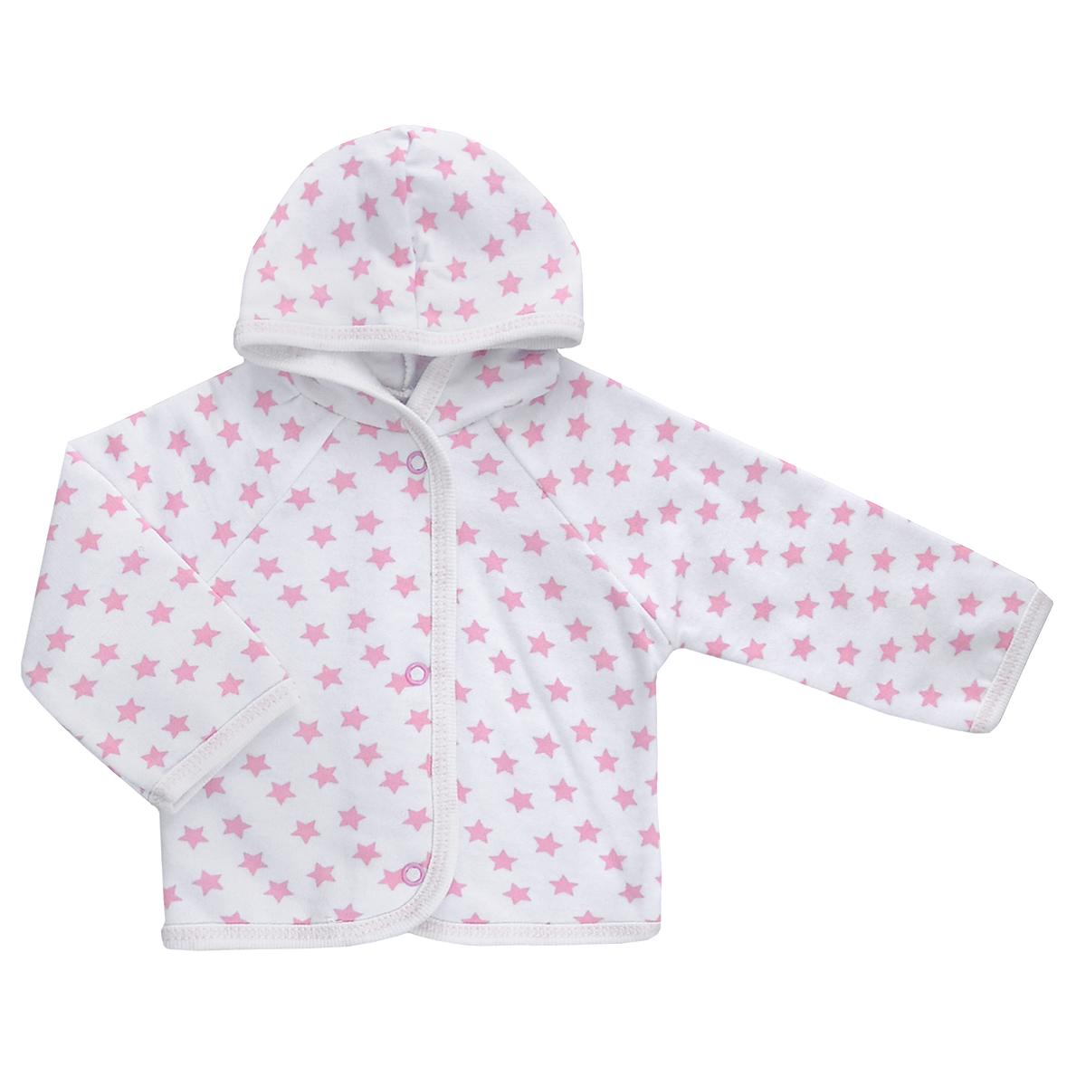 Кофточка детская Трон-плюс, цвет: белый, розовый, рисунок звезды. 5172. Размер 86, 18 месяцев5172Теплая кофточка Трон-плюс идеально подойдет вашему младенцу и станет идеальным дополнением к гардеробу вашего ребенка, обеспечивая ему наибольший комфорт. Изготовленная из футера - натурального хлопка, она необычайно мягкая и легкая, не раздражает нежную кожу ребенка и хорошо вентилируется, а эластичные швы приятны телу малыша и не препятствуют его движениям. Удобные застежки-кнопки по всей длине помогают легко переодеть младенца. Модель с длинными рукавами-реглан дополнена капюшоном. По краям кофточка обработана бейкой и украшена оригинальным принтом.Кофточка полностью соответствует особенностям жизни ребенка в ранний период, не стесняя и не ограничивая его в движениях.