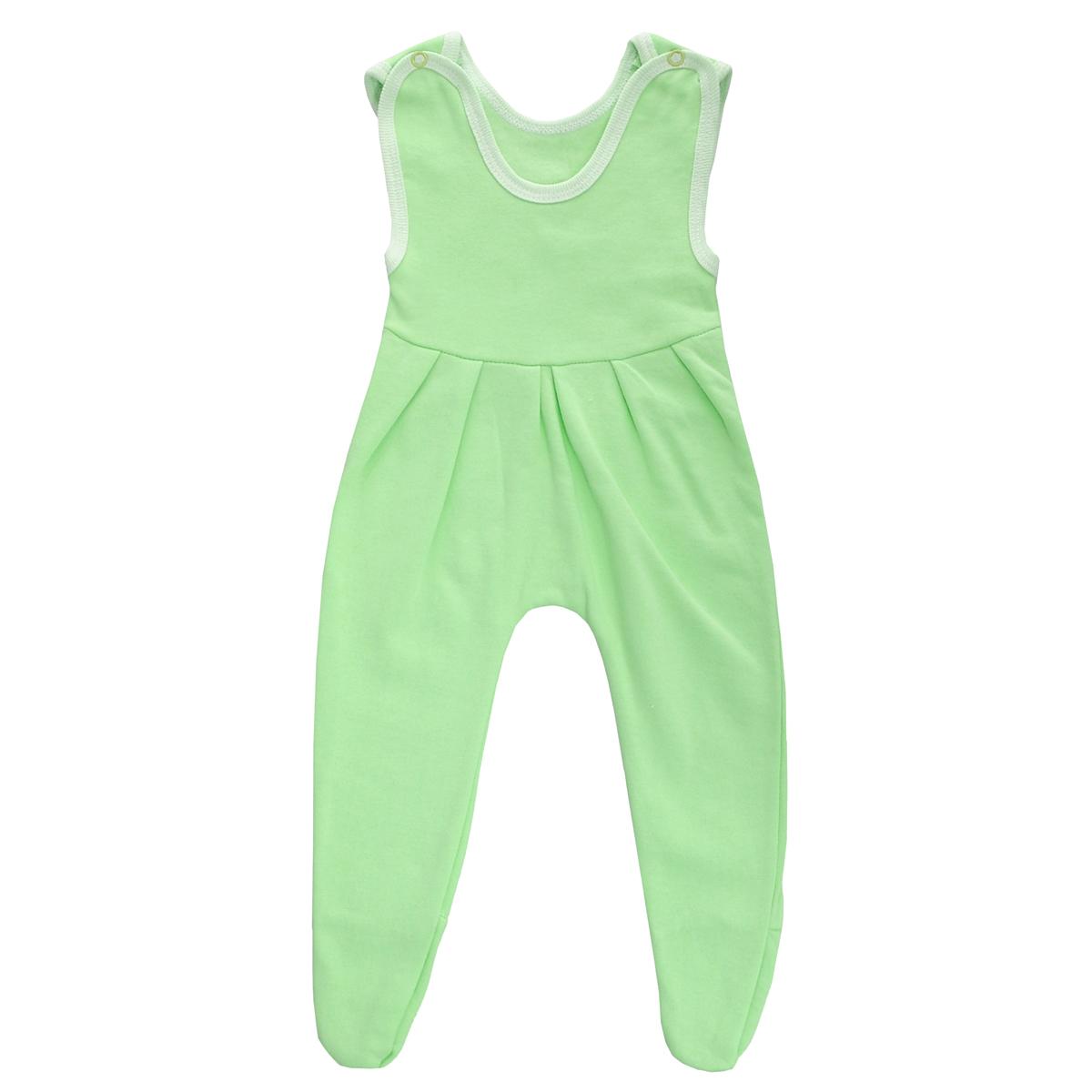 Ползунки с грудкой Трон-плюс, цвет: салатовый. 5221. Размер 80, 12 месяцев5221Ползунки с грудкой Трон-плюс - очень удобный и практичный вид одежды для малышей. Ползунки выполнены из футера - натурального хлопка, благодаря чему они необычайно мягкие, тепленькие и приятные на ощупь, не раздражают нежную кожу ребенка и хорошо вентилируются, а эластичные швы приятны телу младенца и не препятствуют его движениям. Ползунки с закрытыми ножками, застегивающиеся сверху на две кнопочки, идеально подойдут вашему ребенку, обеспечивая ему наибольший комфорт, подходят для ношения с подгузником и без него. От линии груди заложены складочки, придающие изделию оригинальность.Ползунки с грудкой полностью соответствуют особенностям жизни младенца в ранний период, не стесняя и не ограничивая его в движениях!