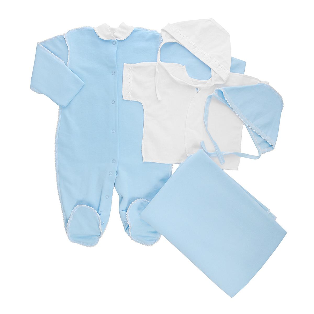 Комплект для новорожденного Трон-Плюс, 5 предметов, цвет: белый, голубой. 3474. Размер 56, 1 месяц3474Комплект для новорожденного Трон-плюс - это замечательный подарок, который прекрасно подойдет для первых дней жизни малыша. Комплект состоит из комбинезона, распашонки, двух чепчиков и пеленки. Комплект изготовлен из натурального хлопка, благодаря чему он необычайно мягкий и приятный на ощупь, не сковывает движения младенца и позволяет коже дышать, не раздражает даже самую нежную и чувствительную кожу ребенка, обеспечивая ему наибольший комфорт. Легкая распашонка с короткими рукавами выполнена швами наружу. Рукава декорированы ажурными рюшами. Теплый комбинезон с небольшим воротничком-стойкой, длинными рукавами и закрытыми ножками идеально подойдет вашему ребенку, обеспечивая ему наибольший комфорт. Комбинезон застегивает на кнопочки по всей длине и на ластовице, что помогает с легкостью переодеть ребенка или сметить подгузник. Рукавички обеспечат вашему малышу комфорт во время сна и бодрствования, предохраняя нежную кожу новорожденного от расцарапывания. Комбинезон выполнен швами наружу и украшен ажурными петельками. Чепчик защищает еще не заросший родничок, щадит чувствительный слух малыша, прикрывая ушки, и предохраняет от теплопотерь. Комплект содержит два чепчика: один - легкий мягкий чепчик с завязками выполнен швами наружу и украшен ажурными рюшами, а второй - теплый чепчик выполнен из футера швами наружу и украшен ажурными петельками. Теплая и мягкая пеленка станет незаменимым помощником в деле ухода за ребенком. По периметру изделие оформлено ажурными петельками. В таком комплекте ваш малыш будет чувствовать себя комфортно, уютно и всегда будет в центре внимания!
