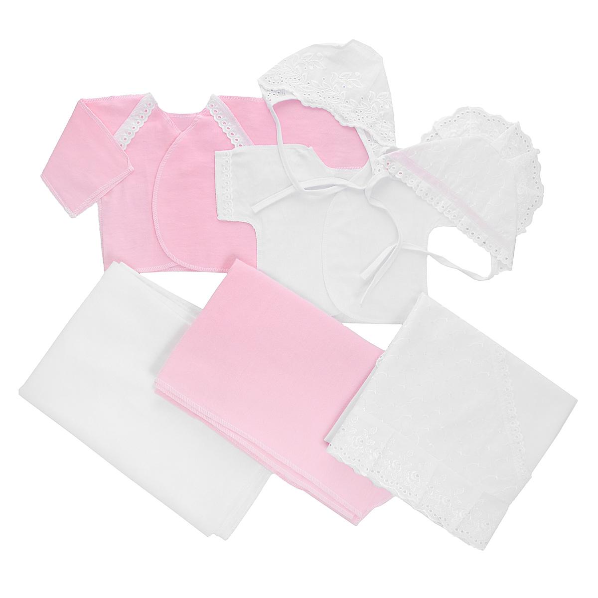 Комплект для новорожденного Трон-Плюс, 7 предметов, цвет: белый, розовый. 3403. Размер 50, 0-1 месяц3403Комплект для новорожденного Трон-плюс - это замечательный подарок, который прекрасно подойдет для первых дней жизни малыша. Комплект состоит из двух распашонок, двух чепчиков, уголка и двух пеленок. Комплект изготовлен из натурального хлопка, благодаря чему он необычайно мягкий и приятный на ощупь, не сковывает движения младенца и позволяет коже дышать, не раздражает даже самую нежную и чувствительную кожу ребенка, обеспечивая ему наибольший комфорт. Легкая распашонка с короткими рукавами выполнена швами наружу. Изделие украшено вышивкой, а рукава декорированы ажурными рюшами.Теплая распашонка с запахом выполнена швами наружу. Декорирована распашонка ажурными рюшами. Чепчик защищает еще не заросший родничок, щадит чувствительный слух малыша, прикрывая ушки, и предохраняет от теплопотерь. Комплект содержит два чепчика: один - легкий мягкий чепчик с завязками выполнен швами наружу и украшен вышивками, а второй - теплый чепчик выполнен из футера швами наружу и украшен вышивкой и ажурными рюшами. Очаровательный уголок, выполненный из натурального хлопка и украшенный кружевом, необычайно мягкий и легкий, не раздражает нежную кожу ребенка и хорошо вентилируется, а эластичные швы приятны телу младенца. Уголок обеспечивает вашему ребенку комфорт! Пеленка станет незаменимым помощником в деле ухода за ребенком. В комплект входят две пеленки: легкая из мадаполама и теплая из футера. В таком комплекте ваш малыш будет чувствовать себя комфортно, уютно и всегда будет в центре внимания!