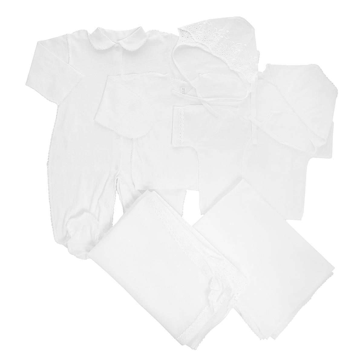 Комплект для новорожденного Трон-Плюс, 7 предметов, цвет: белый. 3472. Размер 56, 1 месяц