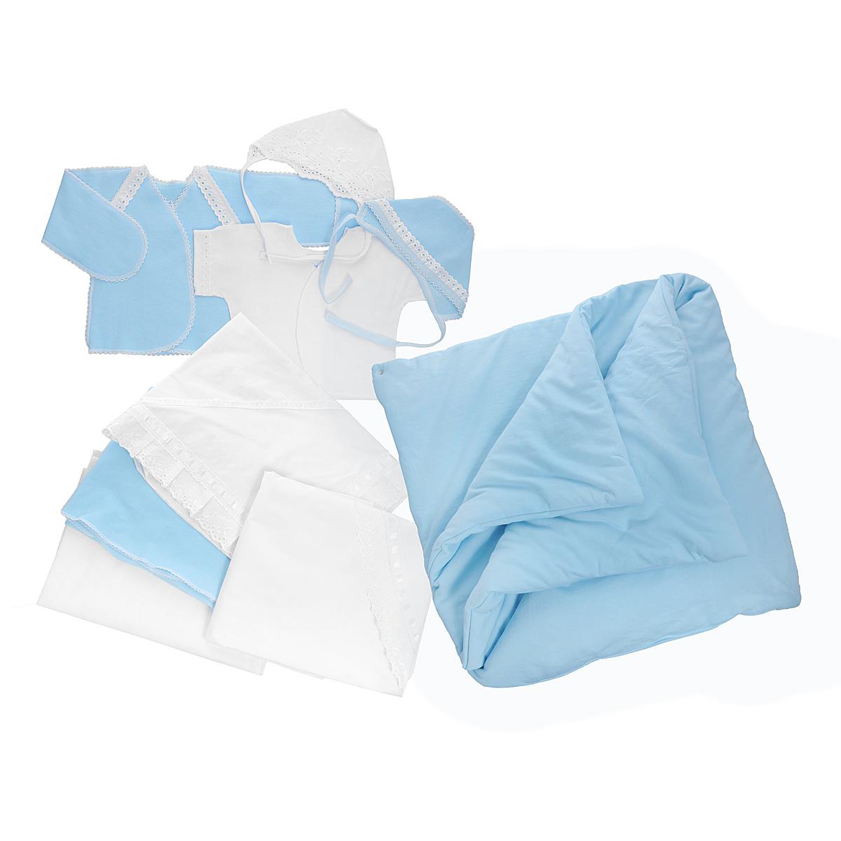 Комплект для новорожденного Трон-Плюс, 9 предметов, цвет: белый, голубой. 3476. Размер 50, 0-1 месяц3476Комплект для новорожденного Трон-плюс - это замечательный подарок, который прекрасно подойдет для первых дней жизни ребенка. Комплект состоит из двух распашонок, двух чепчиков, уголка, двух пеленок, пододеяльника и одеяла. Комплект изготовлен из натурального хлопка, благодаря чему он необычайно мягкий и приятный на ощупь, не сковывает движения младенца и позволяет коже дышать, не раздражает даже самую нежную и чувствительную кожу ребенка, обеспечивая ему наибольший комфорт. Легкая распашонка с короткими рукавами выполнена швами наружу. Изделие украшено вышивкой, а рукава декорированы ажурными рюшами и петельками.Теплая распашонка с запахом выполнена швами наружу. Декорирована распашонка ажурными рюшами. А благодаря рукавичкам ребенок не поцарапает себя. Ручки могут быть как открытыми, так и закрытыми. Чепчик защищает еще не заросший родничок, щадит чувствительный слух малыша, прикрывая ушки, и предохраняет от теплопотерь. Комплект содержит два чепчика: один - легкий мягкий чепчик с завязками выполнен швами наружу и украшен вышивками, а второй - теплый чепчик выполнен из футера швами наружу и украшен ажурными рюшами и петельками. Очаровательный уголок, выполненный из натурального хлопка и украшенный вышивками и атласной лентой, необычайно мягкий и легкий, не раздражает нежную кожу ребенка и хорошо вентилируется, а эластичные швы приятны телу младенца. Уголок обеспечивает вашему ребенку комфорт! Пеленка станет незаменимым помощником в деле ухода за ребенком. В комплект входят две пеленки: легкая из мадаполама и теплая из футера, отделанная ажурными петельками.Пододеяльник, выполненный из бязи отбеленной, дополнен двумя треугольными вырезами, отделанными вышивкой и атласной лентой.Одеяло из футера необычно мягкое и приятное на ощупь. Оно имеет три слоя синтепона и дополнено застежками-кнопками, благодаря которым его можно использовать в качестве конверта.Предметы наб