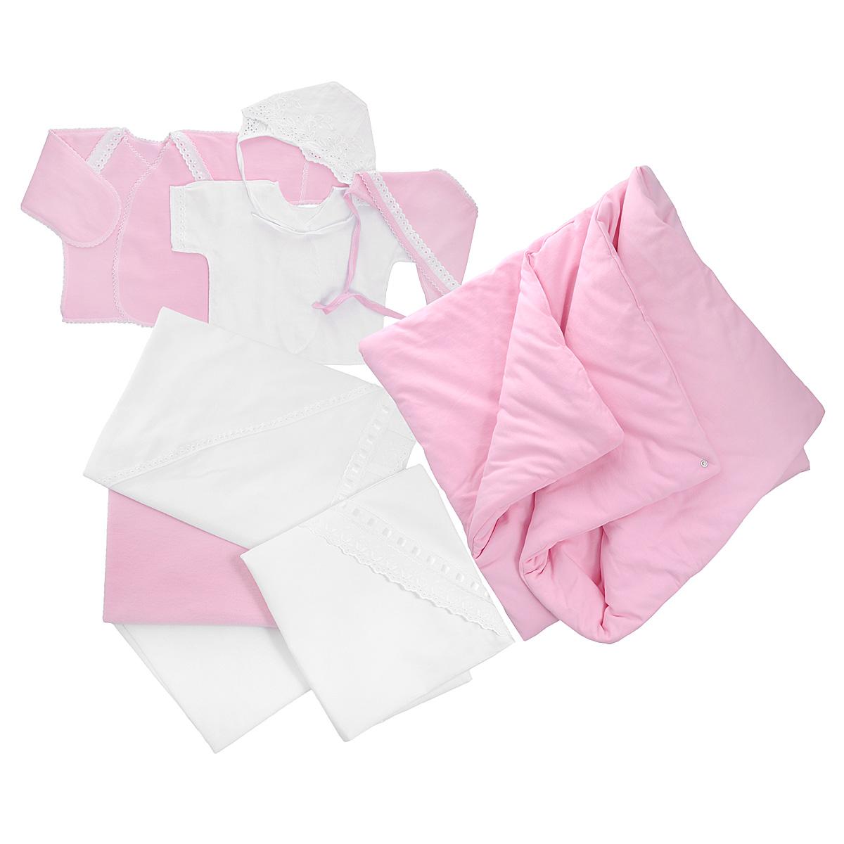 Комплект для новорожденного Трон-Плюс, 9 предметов, цвет: белый, розовый. 3476. Размер 50, 0-1 месяц3476Комплект для новорожденного Трон-плюс - это замечательный подарок, который прекрасно подойдет для первых дней жизни ребенка. Комплект состоит из двух распашонок, двух чепчиков, уголка, двух пеленок, пододеяльника и одеяла. Комплект изготовлен из натурального хлопка, благодаря чему он необычайно мягкий и приятный на ощупь, не сковывает движения младенца и позволяет коже дышать, не раздражает даже самую нежную и чувствительную кожу ребенка, обеспечивая ему наибольший комфорт. Легкая распашонка с короткими рукавами выполнена швами наружу. Изделие украшено вышивкой, а рукава декорированы ажурными рюшами и петельками.Теплая распашонка с запахом выполнена швами наружу. Декорирована распашонка ажурными рюшами. А благодаря рукавичкам ребенок не поцарапает себя. Ручки могут быть как открытыми, так и закрытыми. Чепчик защищает еще не заросший родничок, щадит чувствительный слух малыша, прикрывая ушки, и предохраняет от теплопотерь. Комплект содержит два чепчика: один - легкий мягкий чепчик с завязками выполнен швами наружу и украшен вышивками, а второй - теплый чепчик выполнен из футера швами наружу и украшен ажурными рюшами и петельками. Очаровательный уголок, выполненный из натурального хлопка и украшенный вышивками и атласной лентой, необычайно мягкий и легкий, не раздражает нежную кожу ребенка и хорошо вентилируется, а эластичные швы приятны телу младенца. Уголок обеспечивает вашему ребенку комфорт! Пеленка станет незаменимым помощником в деле ухода за ребенком. В комплект входят две пеленки: легкая из мадаполама и теплая из футера, отделанная ажурными петельками.Пододеяльник, выполненный из бязи отбеленной, дополнен двумя треугольными вырезами, отделанными вышивкой и атласной лентой.Одеяло из футера необычно мягкое и приятное на ощупь. Оно имеет три слоя синтепона и дополнено застежками-кнопками, благодаря которым его можно использовать в качестве конверта.Предметы наб