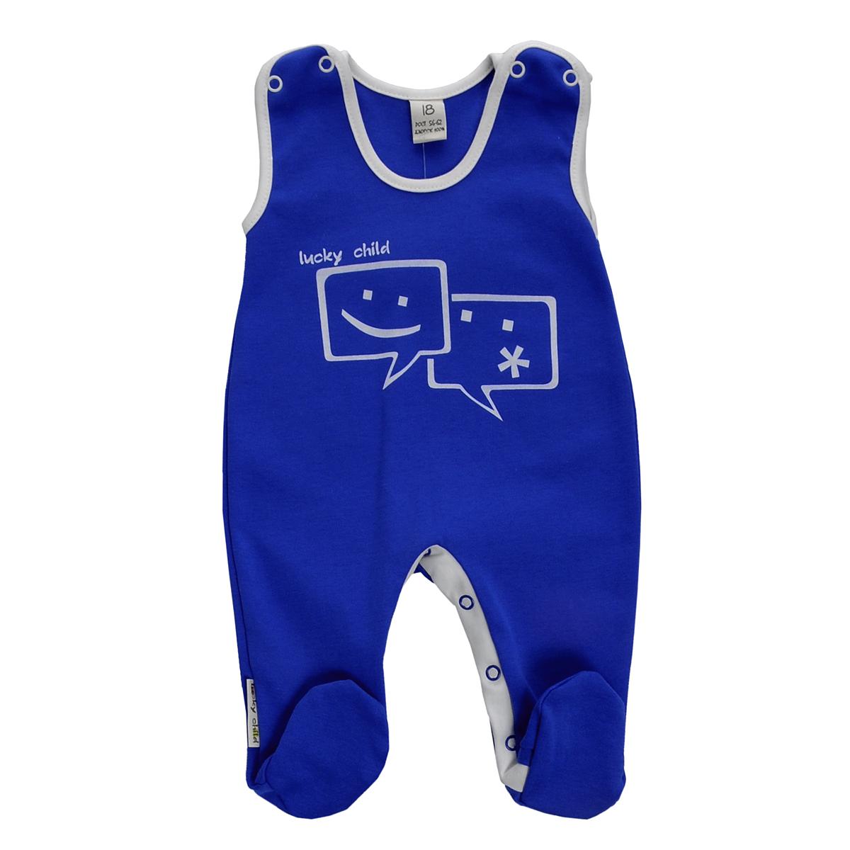 Ползунки с грудкой для мальчика Lucky Child, цвет: синий. 9-2. Размер 80/869-2Ползунки с грудкой для мальчика Lucky Child - очень удобный и практичный вид одежды для малышей. Они отлично сочетаются с футболками и кофточками. Ползунки выполнены из натурального хлопка, благодаря чему они необычайно мягкие и приятные на ощупь, не раздражают нежную кожу ребенка и хорошо вентилируются, а эластичные швы приятны телу малыша и не препятствуют его движениям. Ползунки с закрытыми ножками, застегивающиеся сверху на кнопки, идеально подойдут вашему малышу, обеспечивая ему наибольший комфорт. Они подходят для ношения с подгузником и без него. Кнопки на ластовице помогают легко и без труда поменять подгузник в течение дня. На груди они оформлены оригинальным принтом в виде смайликов.Ползунки с грудкой полностью соответствуют особенностям жизни малыша в ранний период, не стесняя и не ограничивая его в движениях!
