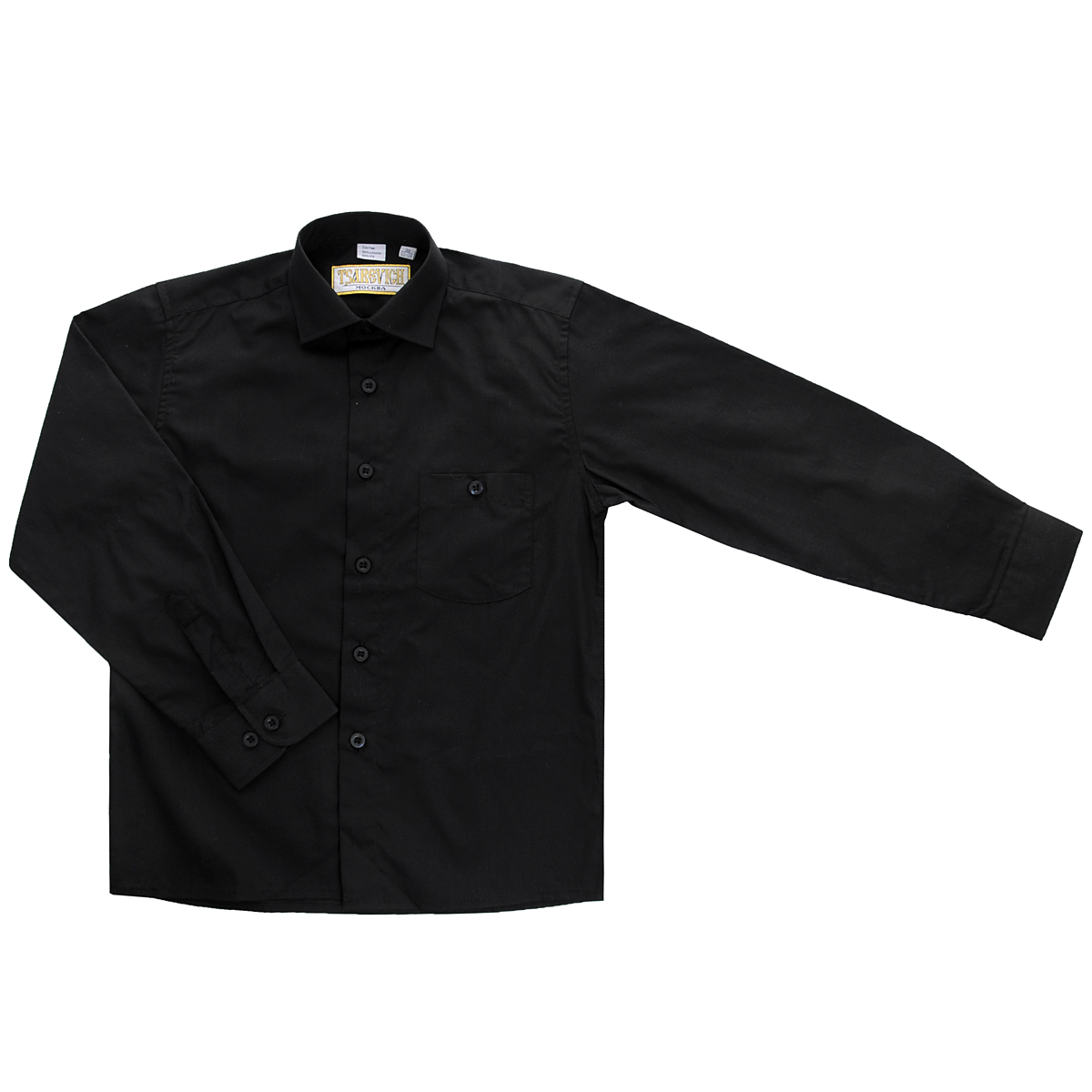 Рубашка для мальчика Tsarevich, цвет: черный. DF420. Размер 32/140-146, 9-10 летDF420Стильная рубашка для мальчика Tsarevich идеально подойдет для школы. Изготовленная из хлопка с добавлением полиэстера, она необычайно мягкая, легкая и приятная на ощупь, не сковывает движения малыша и позволяет коже дышать, не раздражает даже самую нежную и чувствительную кожу ребенка, обеспечивая ему наибольший комфорт. Рубашка классического кроя с длинными рукавами и отложным воротничком застегивается на пуговицы, на груди она дополнена небольшим накладным кармашком на пуговице. Рукава имеют широкие манжеты, также застегивающиеся на пуговицу.Такая рубашка - незаменимая вещь для школьной формы, отлично сочетается с брюками, жилетами и пиджаками.