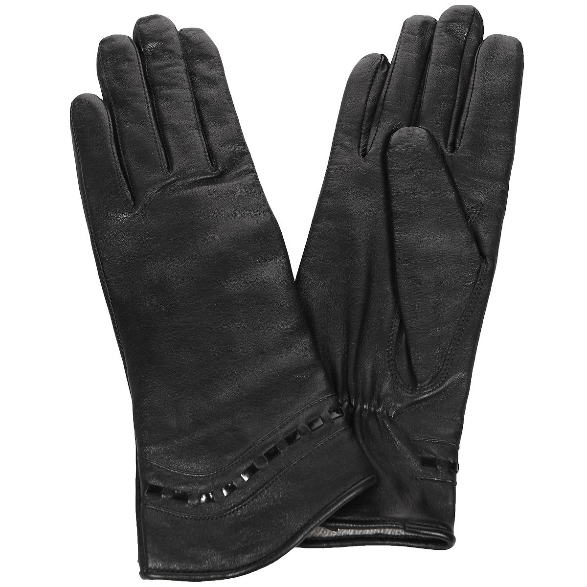 Перчатки женские Edmins, цвет: черный. Э-2L_490. Размер 7Э-2L_490Стильные женские перчатки Edmins не только защитят ваши руки от холода, но и станут великолепным украшением. Перчатки выполнены из натуральной кожи ягненка, подкладка - из шерсти. Манжеты оформлены отделкой из лаковой кожи. В настоящее время перчатки являются неотъемлемой принадлежностью одежды, вместе с этим аксессуаром вы обретаете женственность и элегантность. Перчатки станут завершающим и подчеркивающим элементом вашего стиля и неповторимости.