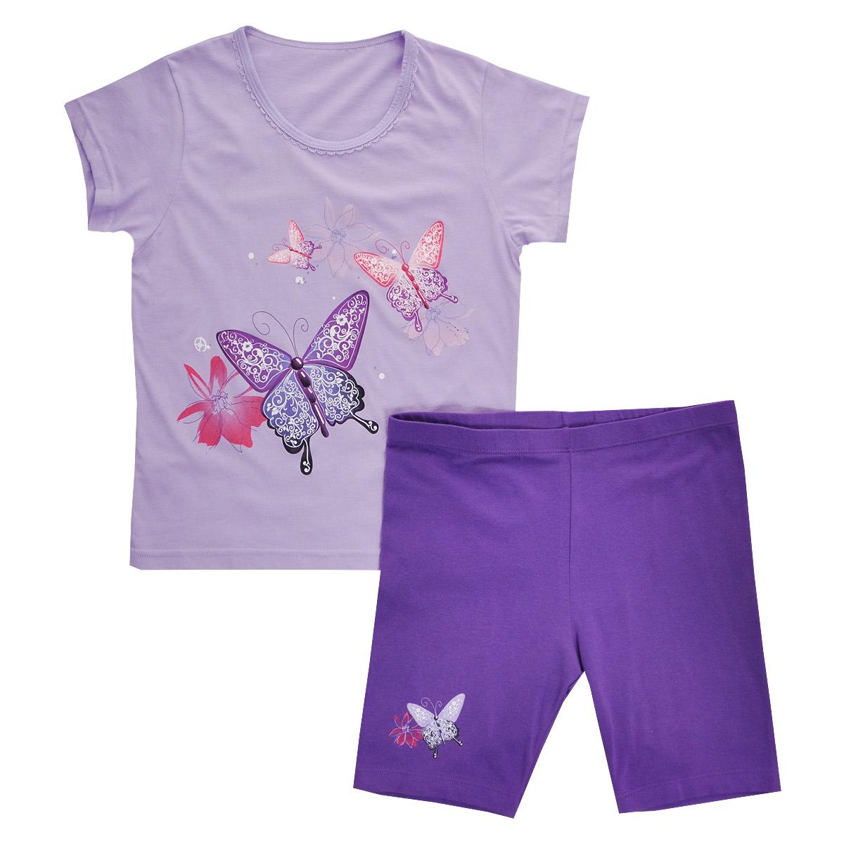 Комплект для девочки Lowry: футболка, шорты, цвет: сиреневый, фиолетовый. GF/GL-252. Размер 36 (XXL)GF/GL-252Комплект для девочки Lowry, состоящий из футболки и шорт, идеально подойдет вашей малышке. Изготовленный из натурального хлопка, он необычайно мягкий и приятный на ощупь, не сковывает движения малышки и позволяет коже дышать, не раздражает даже самую нежную и чувствительную кожу ребенка, обеспечивая ему наибольший комфорт. Футболка с короткими рукавами и круглым вырезом горловины спереди оформлена яркой термоаппликацией с изображением бабочек. Вырез горловины украшен ажурными рюшами.Шортики на талии имеют широкую эластичную резинку, благодаря чему они не сдавливают животик ребенка и не сползают. Правая брючина оформлена термоаппликацией с изображением бабочки и цветочка.Оригинальный дизайн и модная расцветка делают этот комплект незаменимым предметом детского гардероба. В нем вашей маленькой принцессе будет комфортно и уютно, и она всегда будет в центре внимания!