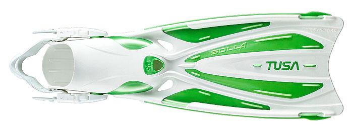 Ласты Tusa Solla с открытой пяткой, цвет: белый, зеленый. TS SF-22 SGW. Размер 34/38TS SF-22_SGWЛасты Tusa Solla объединяют в себе многолетний опыт компании Tusa в разработке дизайна ласт с новейшими материалами и последними инновациями в области гидродинамики. Абсолютно новый дизайн модели ласт Solla имеет несколько уникальных особенностей, которые обеспечивают отличную силу гребка, скорость и маневренность. Модель Tusa Solla выполнена с использованием технологии ForcElast - четырех компонентный материал, что обеспечивает непревзойденную производительность и эффективность, какой никогда ранее не удавалось достичь при производстве ласт с традиционной лопастью. Помимо технологии ForcElast, модель Solla оснащена запатентованной компанией Tusa скошенной под углом 20° лопастью. Лопасть ласты имеет особую форму с тремя каналами, направляющими поток воды, и полукруглым вырезом на конце, с усиленными боковыми ребрами и отверстиями для стока воды. Галоша анатомической формы выполнена из комбинации различных материалов и снабжена системой 3D ремешков и пряжек EZ. Используются с ботами для дайвинга.