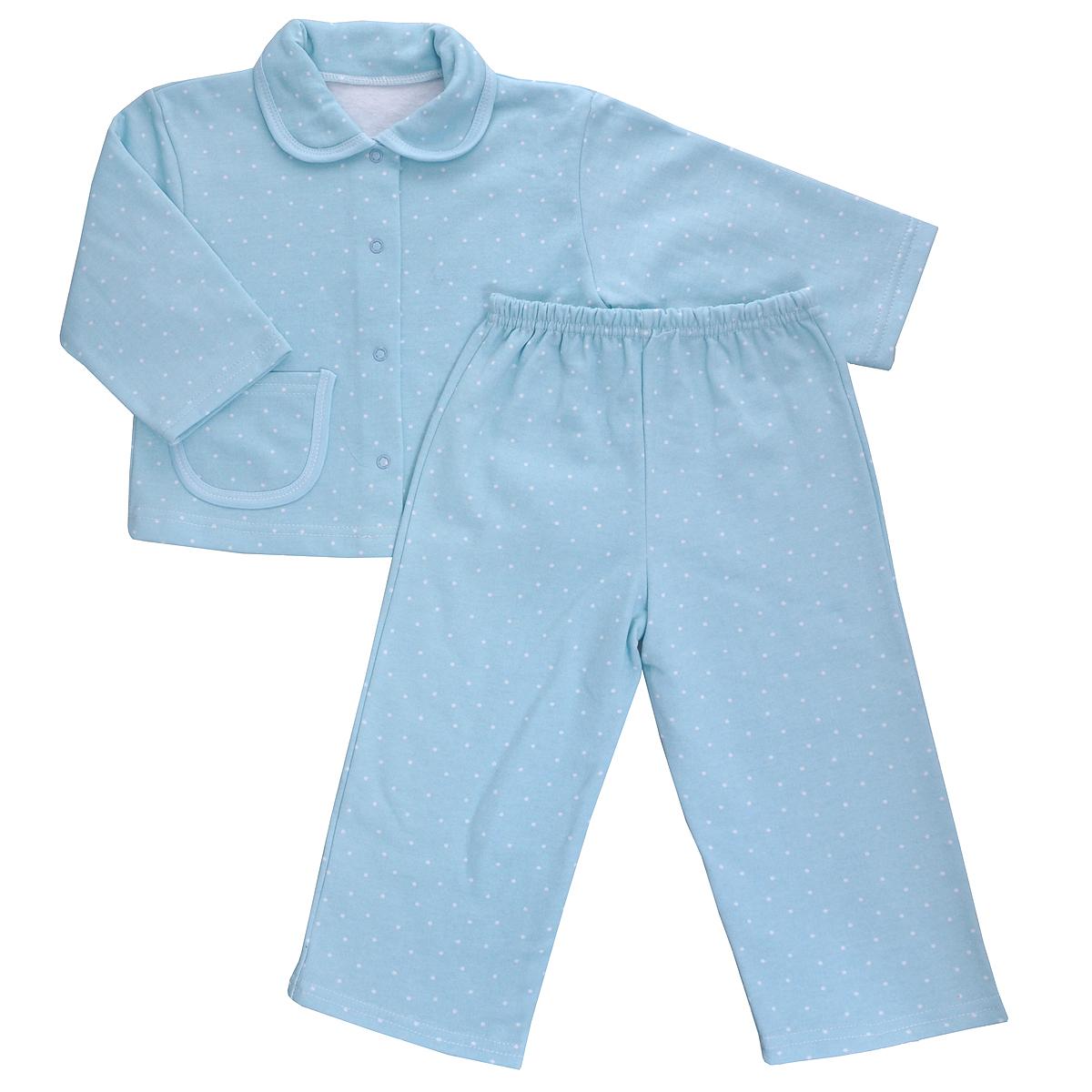 Пижама детская Трон-плюс, цвет: голубой, белый, рисунок горох. 5552. Размер 110/116, 4-8 лет5552Яркая детская пижама Трон-плюс, состоящая из кофточки и штанишек, идеально подойдет вашему малышу и станет отличным дополнением к детскому гардеробу. Теплая пижама, изготовленная из набивного футера - натурального хлопка, необычайно мягкая и легкая, не сковывает движения ребенка, позволяет коже дышать и не раздражает даже самую нежную и чувствительную кожу малыша. Кофта с длинными рукавами имеет отложной воротничок и застегивается на кнопки, также оформлена небольшим накладным карманчиком. Штанишки на удобной резинке не сдавливают животик ребенка и не сползают.В такой пижаме ваш ребенок будет чувствовать себя комфортно и уютно во время сна.