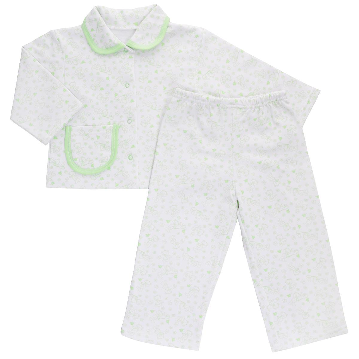 Пижама детская Трон-плюс, цвет: белый, салатовый, рисунок мишки. 5552. Размер 80/86, 1-2 года5552Яркая детская пижама Трон-плюс, состоящая из кофточки и штанишек, идеально подойдет вашему малышу и станет отличным дополнением к детскому гардеробу. Теплая пижама, изготовленная из набивного футера - натурального хлопка, необычайно мягкая и легкая, не сковывает движения ребенка, позволяет коже дышать и не раздражает даже самую нежную и чувствительную кожу малыша. Кофта с длинными рукавами имеет отложной воротничок и застегивается на кнопки, также оформлена небольшим накладным карманчиком. Штанишки на удобной резинке не сдавливают животик ребенка и не сползают.В такой пижаме ваш ребенок будет чувствовать себя комфортно и уютно во время сна.