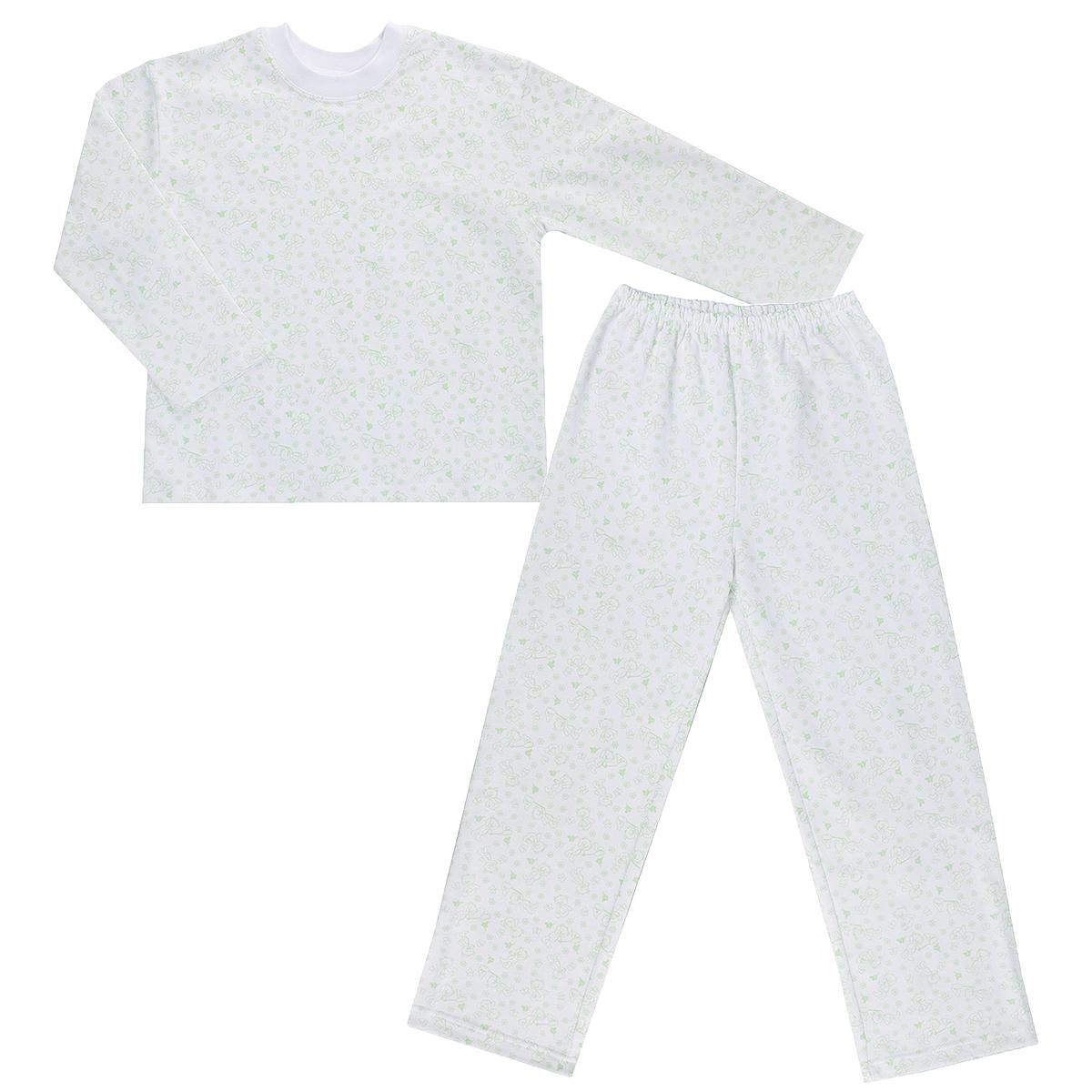 Пижама детская Трон-плюс, цвет: белый, салатовый, рисунок мишки. 5553. Размер 134/140, 9-12 лет5553Яркая детская пижама Трон-плюс, состоящая из кофточки и штанишек, идеально подойдет вашему малышу и станет отличным дополнением к детскому гардеробу. Теплая пижама, изготовленная из набивного футера - натурального хлопка, необычайно мягкая и легкая, не сковывает движения ребенка, позволяет коже дышать и не раздражает даже самую нежную и чувствительную кожу малыша. Кофта с длинными рукавами имеет круглый вырез горловины. Штанишки на удобной резинке не сдавливают животик ребенка и не сползают.В такой пижаме ваш ребенок будет чувствовать себя комфортно и уютно во время сна.