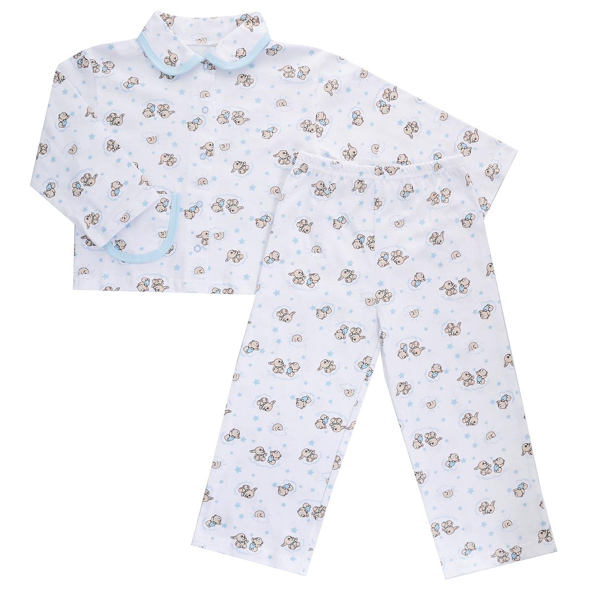 Пижама детская Трон-плюс, цвет: белый, голубой, рисунок зайцы. 5562. Размер 80/86, 1-2 года