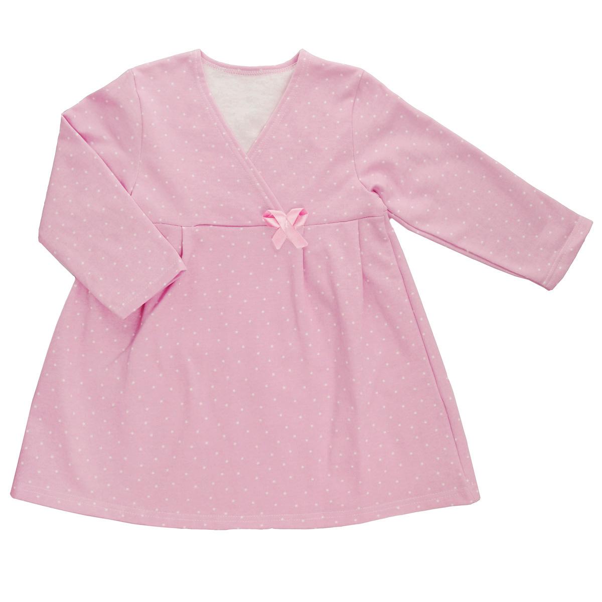 Сорочка ночная для девочки Трон-плюс, цвет: розовый, белый, рисунок горох. 5522. Размер 80/86, 1-2 года5522Яркая сорочка Трон-плюс идеально подойдет вашей малышке и станет отличным дополнением к детскому гардеробу. Теплая сорочка, изготовленная из футера - натурального хлопка, необычайно мягкая и легкая, не сковывает движения ребенка, позволяет коже дышать и не раздражает даже самую нежную и чувствительную кожу малыша. Сорочка трапециевидного кроя с длинными рукавами, V-образным вырезом горловины. Полочка состоит из двух частей, заходящих друг на друга. По переднему и заднему полотнищам юбки заложены небольшие складки. Сорочка оформлена атласным бантиком.В такой сорочке ваш ребенок будет чувствовать себя комфортно и уютно во время сна.