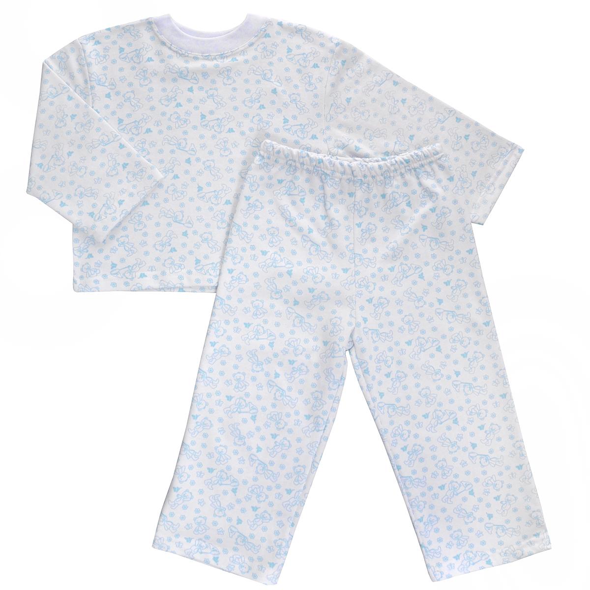 Пижама детская Трон-плюс, цвет: белый, голубой, рисунок мишки. 5553. Размер 80/86, 1-2 года5553Яркая детская пижама Трон-плюс, состоящая из кофточки и штанишек, идеально подойдет вашему малышу и станет отличным дополнением к детскому гардеробу. Теплая пижама, изготовленная из набивного футера - натурального хлопка, необычайно мягкая и легкая, не сковывает движения ребенка, позволяет коже дышать и не раздражает даже самую нежную и чувствительную кожу малыша. Кофта с длинными рукавами имеет круглый вырез горловины. Штанишки на удобной резинке не сдавливают животик ребенка и не сползают.В такой пижаме ваш ребенок будет чувствовать себя комфортно и уютно во время сна.