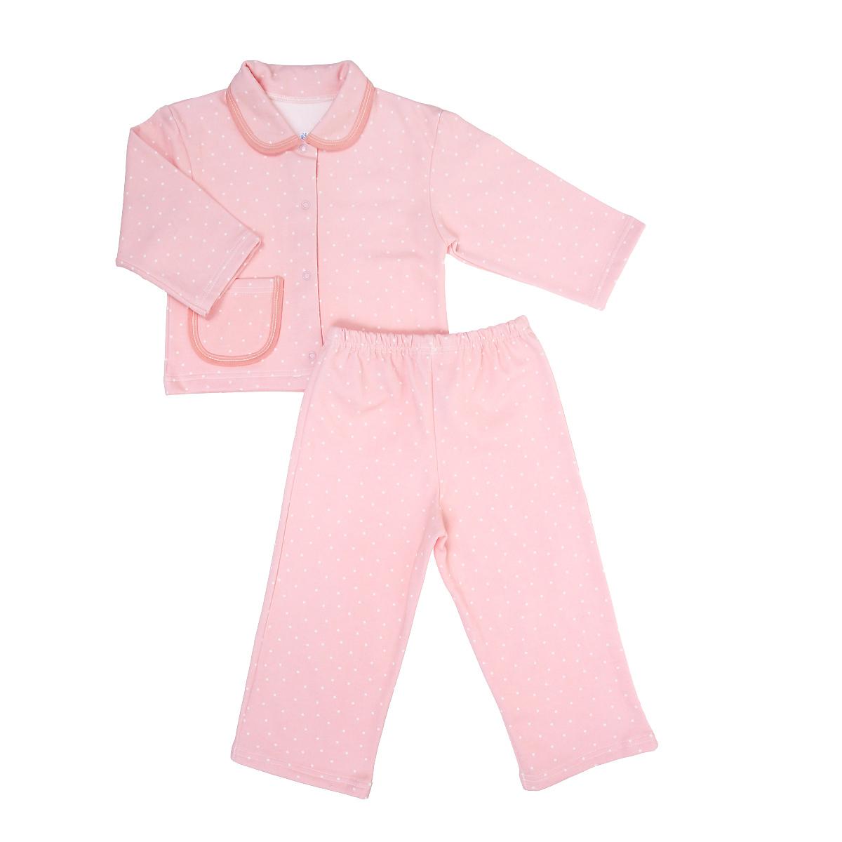 Пижама детская Трон-плюс, цвет: розовый, белый, рисунок горох. 5552. Размер 98/104, 3-5 лет5552Яркая детская пижама Трон-плюс, состоящая из кофточки и штанишек, идеально подойдет вашему малышу и станет отличным дополнением к детскому гардеробу. Теплая пижама, изготовленная из набивного футера - натурального хлопка, необычайно мягкая и легкая, не сковывает движения ребенка, позволяет коже дышать и не раздражает даже самую нежную и чувствительную кожу малыша. Кофта с длинными рукавами имеет отложной воротничок и застегивается на кнопки, также оформлена небольшим накладным карманчиком. Штанишки на удобной резинке не сдавливают животик ребенка и не сползают.В такой пижаме ваш ребенок будет чувствовать себя комфортно и уютно во время сна.