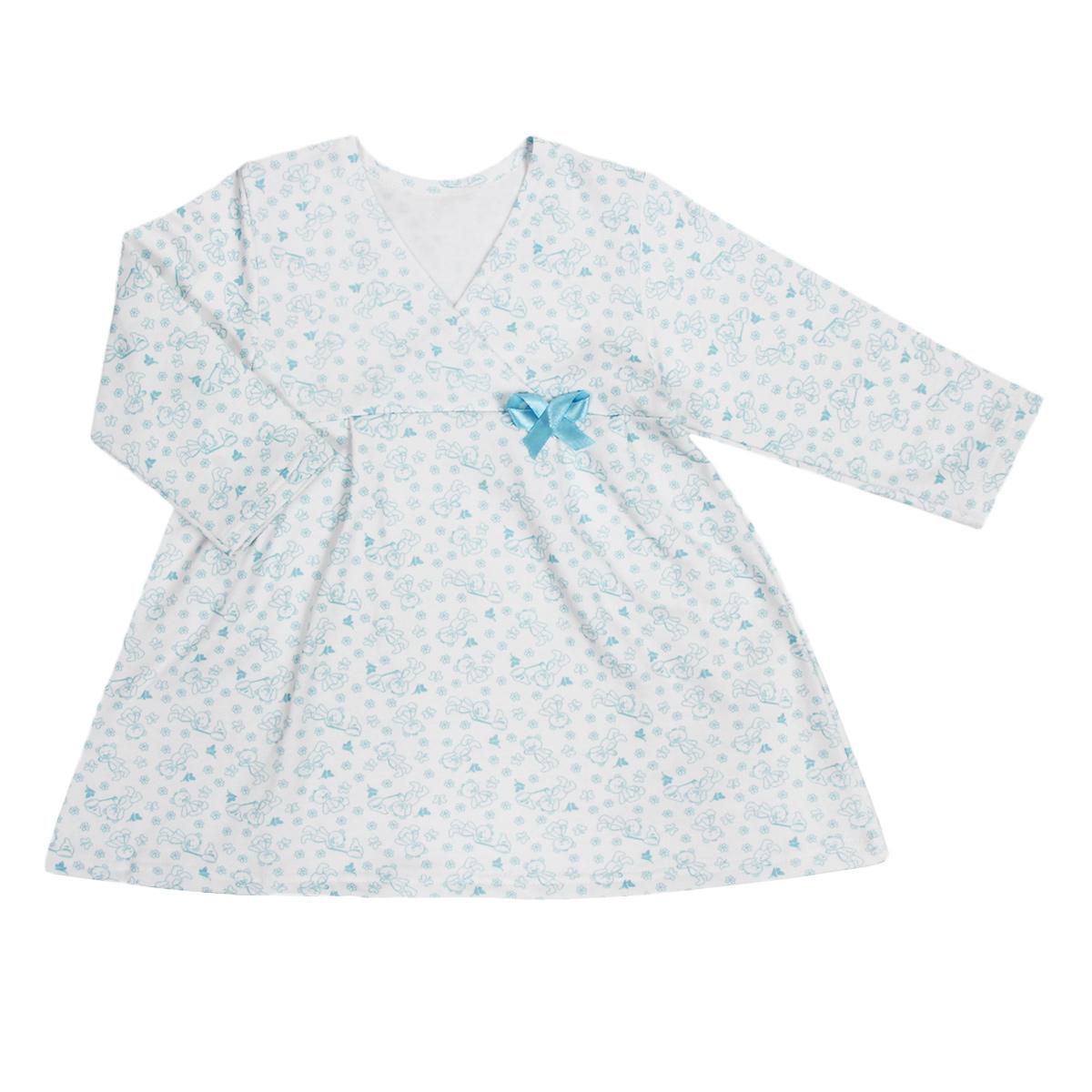 Сорочка ночная для девочки Трон-плюс, цвет: белый, голубой, рисунок мишки. 5522. Размер 86/92, 2-3 года5522Яркая сорочка Трон-плюс идеально подойдет вашей малышке и станет отличным дополнением к детскому гардеробу. Теплая сорочка, изготовленная из футера - натурального хлопка, необычайно мягкая и легкая, не сковывает движения ребенка, позволяет коже дышать и не раздражает даже самую нежную и чувствительную кожу малыша. Сорочка трапециевидного кроя с длинными рукавами, V-образным вырезом горловины. Полочка состоит из двух частей, заходящих друг на друга. По переднему и заднему полотнищам юбки заложены небольшие складки. Сорочка оформлена атласным бантиком.В такой сорочке ваш ребенок будет чувствовать себя комфортно и уютно во время сна.