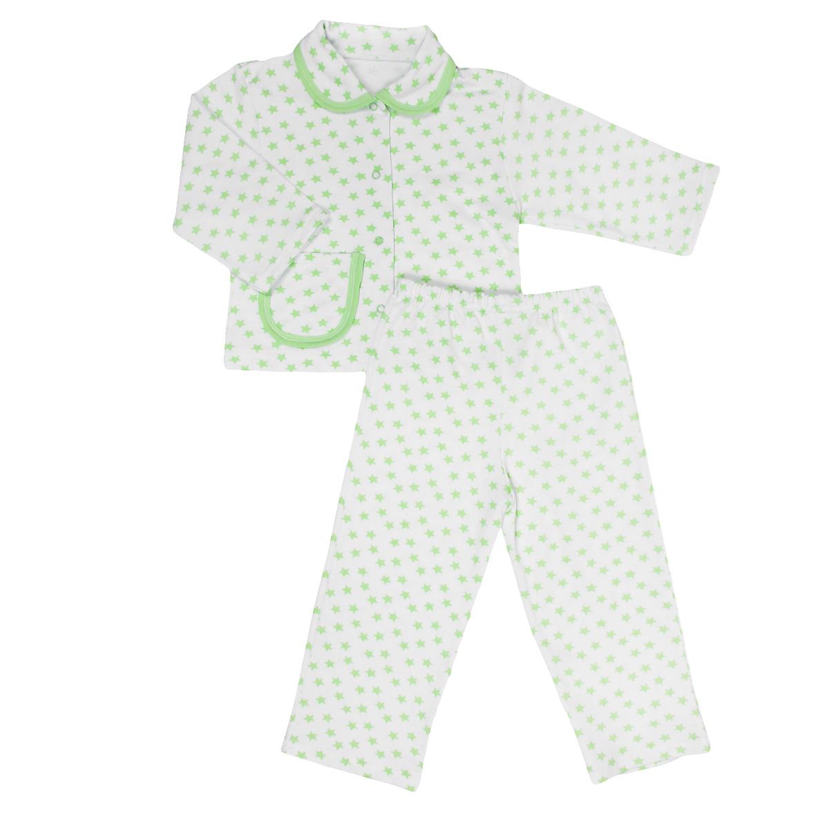 Пижама детская Трон-плюс, цвет: белый, салатовый, рисунок звезды. 5552. Размер 98/104, 3-5 лет5552Яркая детская пижама Трон-плюс, состоящая из кофточки и штанишек, идеально подойдет вашему малышу и станет отличным дополнением к детскому гардеробу. Теплая пижама, изготовленная из набивного футера - натурального хлопка, необычайно мягкая и легкая, не сковывает движения ребенка, позволяет коже дышать и не раздражает даже самую нежную и чувствительную кожу малыша. Кофта с длинными рукавами имеет отложной воротничок и застегивается на кнопки, также оформлена небольшим накладным карманчиком. Штанишки на удобной резинке не сдавливают животик ребенка и не сползают.В такой пижаме ваш ребенок будет чувствовать себя комфортно и уютно во время сна.