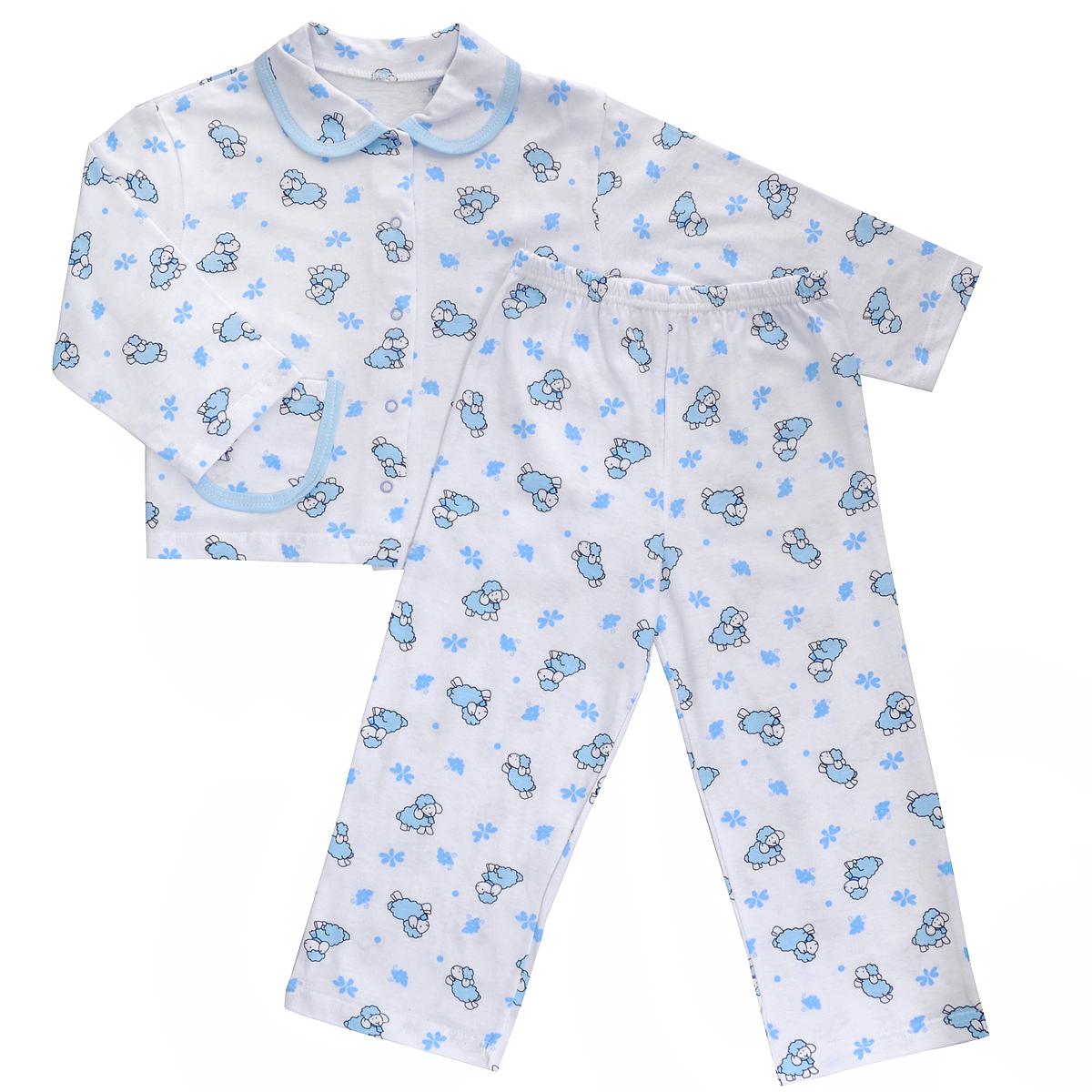 Пижама детская Трон-плюс, цвет: белый, голубой, рисунок барашки. 5562. Размер 80/86, 1-2 года