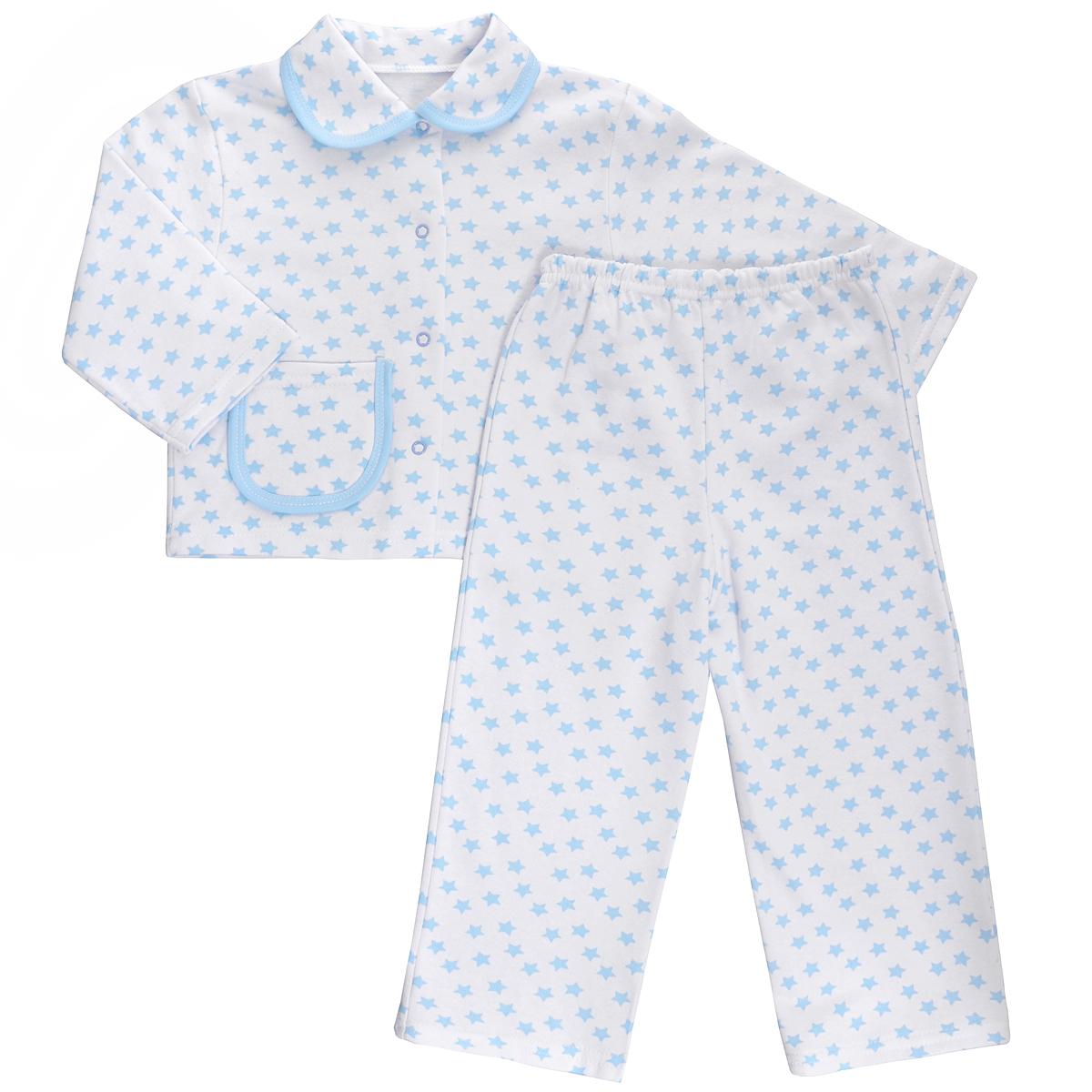 Пижама детская Трон-плюс, цвет: белый, голубой, рисунок звезды. 5552. Размер 98/104, 3-5 лет5552Яркая детская пижама Трон-плюс, состоящая из кофточки и штанишек, идеально подойдет вашему малышу и станет отличным дополнением к детскому гардеробу. Теплая пижама, изготовленная из набивного футера - натурального хлопка, необычайно мягкая и легкая, не сковывает движения ребенка, позволяет коже дышать и не раздражает даже самую нежную и чувствительную кожу малыша. Кофта с длинными рукавами имеет отложной воротничок и застегивается на кнопки, также оформлена небольшим накладным карманчиком. Штанишки на удобной резинке не сдавливают животик ребенка и не сползают.В такой пижаме ваш ребенок будет чувствовать себя комфортно и уютно во время сна.