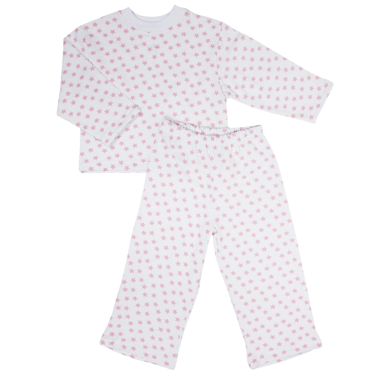 Пижама детская Трон-плюс, цвет: белый, розовый, рисунок звезды. 5553. Размер 86/92, 2-3 года5553Яркая детская пижама Трон-плюс, состоящая из кофточки и штанишек, идеально подойдет вашему малышу и станет отличным дополнением к детскому гардеробу. Теплая пижама, изготовленная из набивного футера - натурального хлопка, необычайно мягкая и легкая, не сковывает движения ребенка, позволяет коже дышать и не раздражает даже самую нежную и чувствительную кожу малыша. Кофта с длинными рукавами имеет круглый вырез горловины. Штанишки на удобной резинке не сдавливают животик ребенка и не сползают.В такой пижаме ваш ребенок будет чувствовать себя комфортно и уютно во время сна.