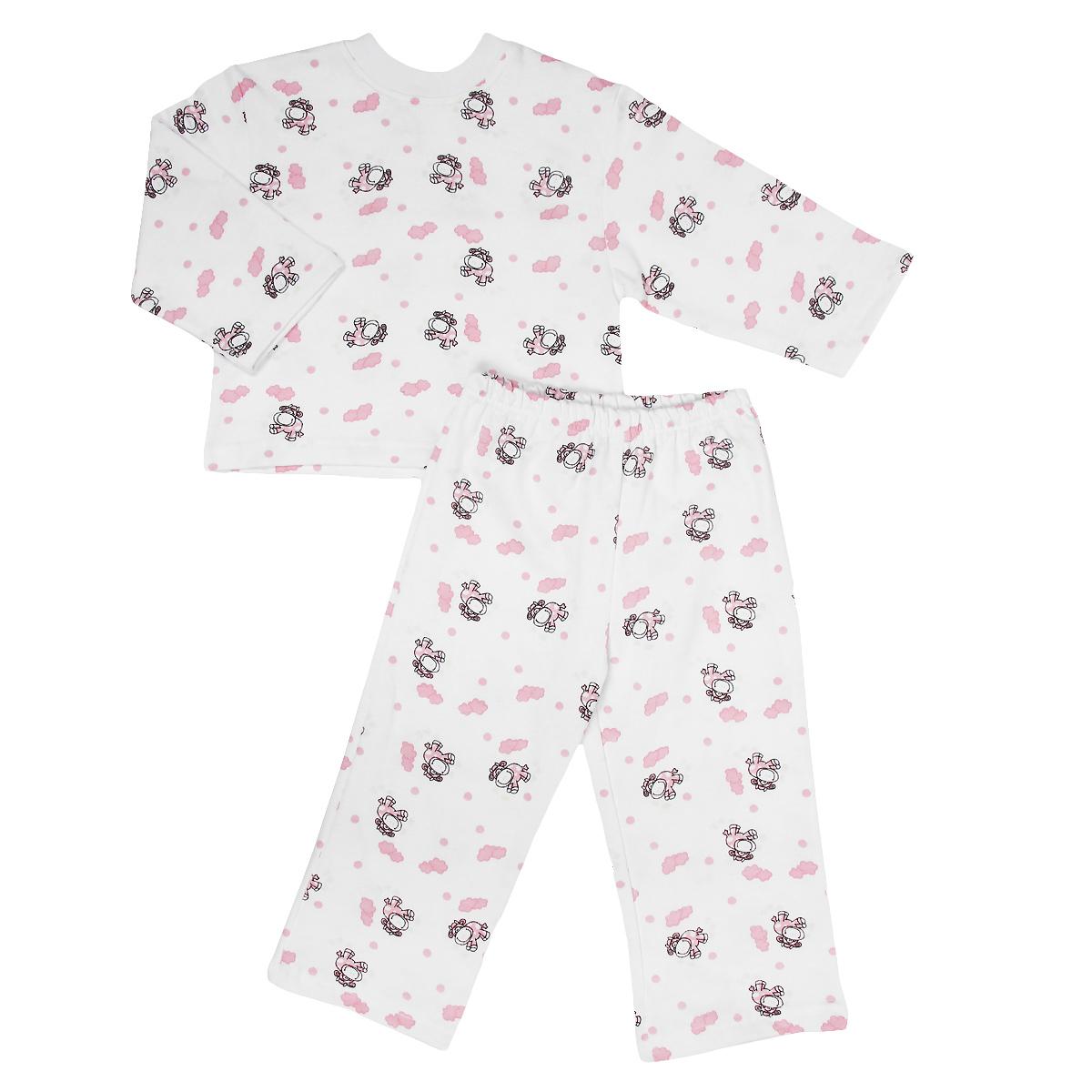Пижама детская Трон-плюс, цвет: белый, розовый, рисунок коровы. 5553. Размер 110/116, 4-8 лет5553Яркая детская пижама Трон-плюс, состоящая из кофточки и штанишек, идеально подойдет вашему малышу и станет отличным дополнением к детскому гардеробу. Теплая пижама, изготовленная из набивного футера - натурального хлопка, необычайно мягкая и легкая, не сковывает движения ребенка, позволяет коже дышать и не раздражает даже самую нежную и чувствительную кожу малыша. Кофта с длинными рукавами имеет круглый вырез горловины. Штанишки на удобной резинке не сдавливают животик ребенка и не сползают.В такой пижаме ваш ребенок будет чувствовать себя комфортно и уютно во время сна.