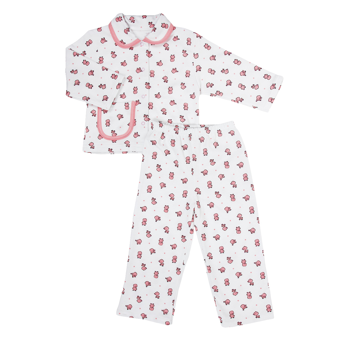 Пижама детская Трон-плюс, цвет: белый, розовый, рисунок утята. 5552. Размер 80/86, 1-2 года5552Яркая детская пижама Трон-плюс, состоящая из кофточки и штанишек, идеально подойдет вашему малышу и станет отличным дополнением к детскому гардеробу. Теплая пижама, изготовленная из набивного футера - натурального хлопка, необычайно мягкая и легкая, не сковывает движения ребенка, позволяет коже дышать и не раздражает даже самую нежную и чувствительную кожу малыша. Кофта с длинными рукавами имеет отложной воротничок и застегивается на кнопки, также оформлена небольшим накладным карманчиком. Штанишки на удобной резинке не сдавливают животик ребенка и не сползают.В такой пижаме ваш ребенок будет чувствовать себя комфортно и уютно во время сна.