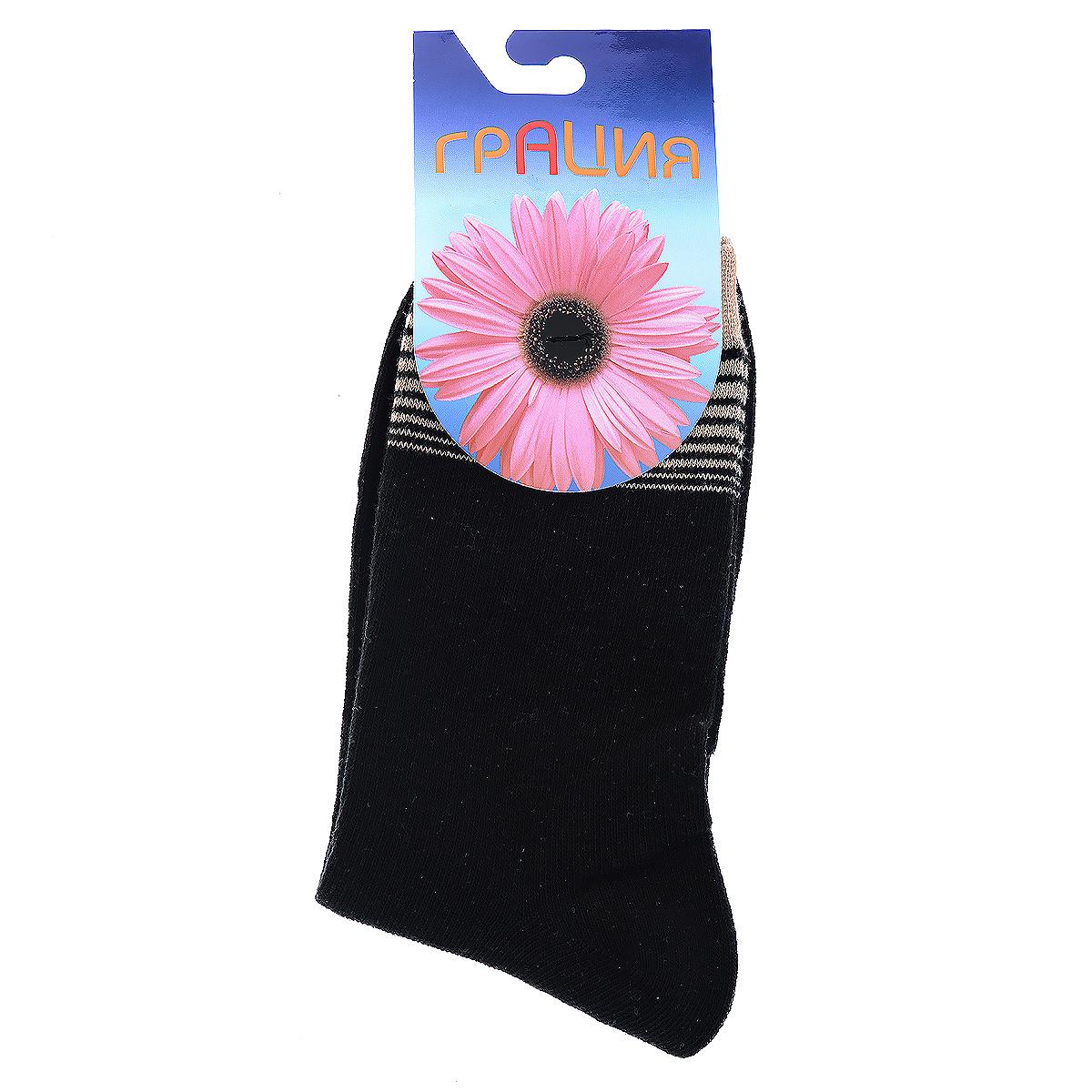 Носки женские Грация, цвет: черный, бежевый. Н 002-16-19. Размер 38/40Н 002-16-19Женские носки Грация изготовлены из экологически чистых материалов в соответствии с мировыми стандартами качества. Комфортная широкая резинка не сдавливает ногу.