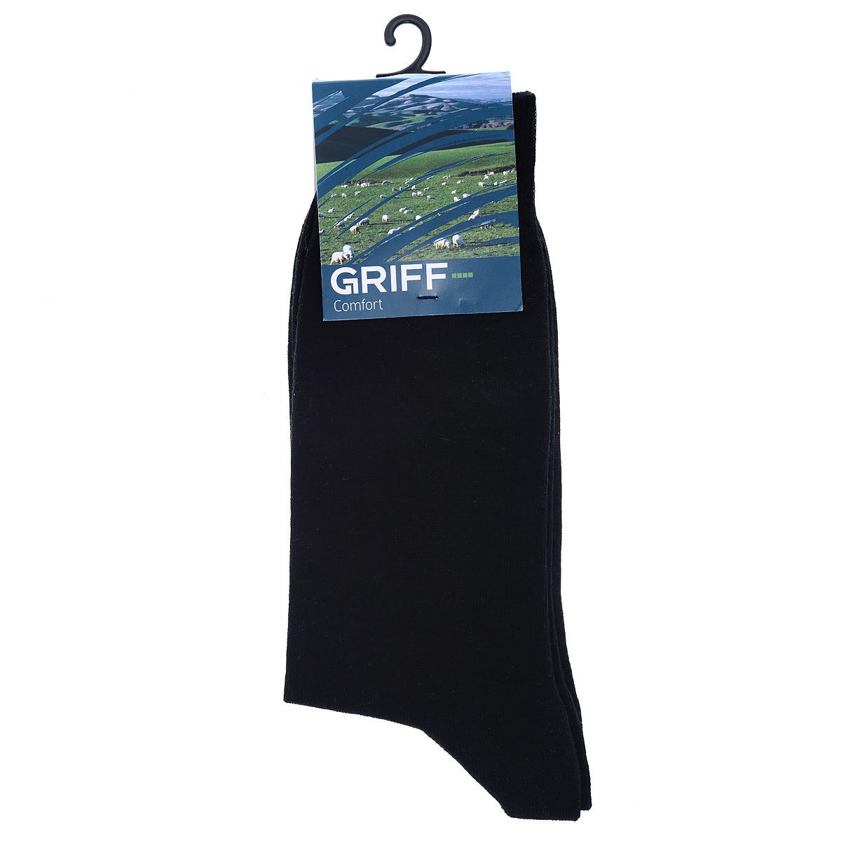 Носки мужские Griff Comfort, цвет: черный. М2. Размер 42/44М2Мужские носки Griff Comfort с удлиненным паголенком изготовлены из высококачественного волокна - хлопок SeaCell. Комфортная широкая резинка пресс-контроль не сдавливает и комфортно облегает ногу. Обладают повышенной прочностью, благодаря усиленной