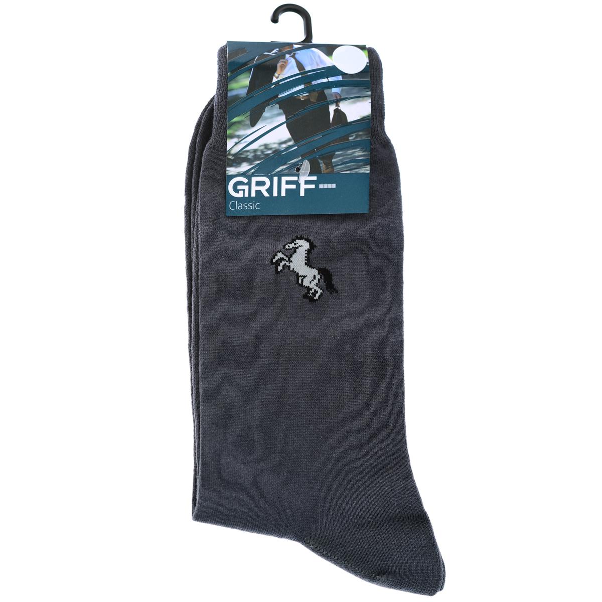 Носки мужские Griff Classic, цвет: темно-серый. В1. Размер 42/44B1Мужские носки Griff Classic с удлиненным паголенком изготовлены из высококачественного сырья с добавлением полиамидных и эластановых волокон, которые обеспечивают великолепную посадку. Носки отличаются элегантным внешним видом. Удобная широкая резинка идеально облегает ногу и не пережимает сосуды, усиленные пятка и мысок повышают износоустойчивость носка.