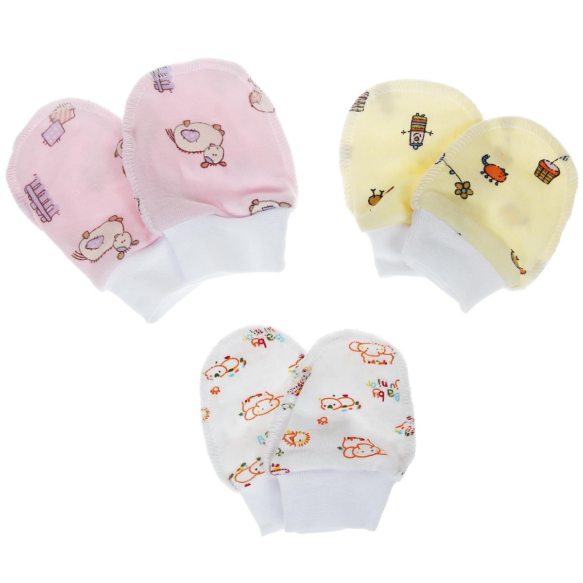 Комплект рукавичек Фреш Стайл, цвет: розовый, белый, желтый, 3 пары. 33-107д. Размер 56, от 0 до 3 месяцев33-107дКомплект Фреш Стайл состоит из трех пар рукавичек, оформленных забавным принтовым рисунком. Они идеально подойдут вашему малышу. Рукавички очень удобные, с мягкой широкой резинкой обеспечат комфорт во время сна и бодрствования, предохраняя нежную кожу новорожденного от расцарапывания.