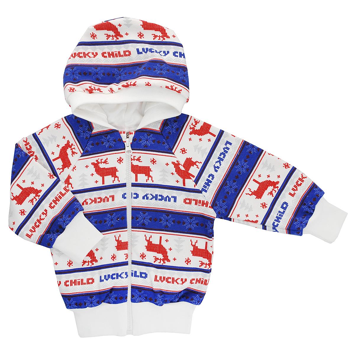 Кофточка детская Lucky Child, цвет: молочный, синий, красный. 10-17. Размер 56/6210-17Кофточка для новорожденного Lucky Child с длинными рукавами-реглан и капюшоном послужит идеальным дополнением к гардеробу вашего малыша, обеспечивая ему наибольший комфорт. Изготовленная из натурального хлопка, она необычайно мягкая и легкая, не раздражает нежную кожу ребенка и хорошо вентилируется, а эластичные швы приятны телу малыша и не препятствуют его движениям. Лицевая сторона гладкая, а изнаночная - с мягким теплым начесом.Удобная застежка-молния по всей длине помогает легко переодеть младенца. Рукава понизу дополнены широкими трикотажными манжетами, не стягивающими запястья. Понизу также проходит широкая трикотажная резинка. Оформлена модель модным скандинавским принтом. Кофточка полностью соответствует особенностям жизни ребенка в ранний период, не стесняя и не ограничивая его в движениях. В ней ваш младенец всегда будет в центре внимания.