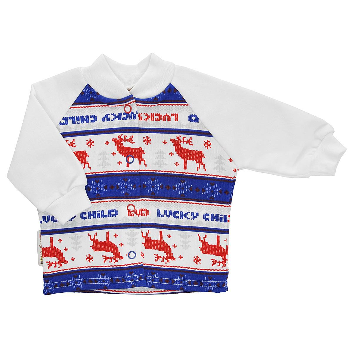 Кофточка детская Lucky Child, цвет: молочный, синий, красный. 10-12_легкая. Размер 86/9210-12_легкаяКофточка для новорожденного Lucky Child с длинными рукавами-реглан послужит идеальным дополнением к гардеробу вашего малыша, обеспечивая ему наибольший комфорт. Изготовленная из натурального хлопка, она необычайно мягкая и легкая, не раздражает нежную кожу ребенка и хорошо вентилируется, а эластичные швы приятны телу малыша и не препятствуют его движениям. Удобные застежки-кнопки по всей длине помогают легко переодеть младенца. Рукава понизу дополнены широкими трикотажными манжетами, не стягивающими запястья. Оформлена модель модным скандинавским принтом. Кофточка полностью соответствует особенностям жизни ребенка в ранний период, не стесняя и не ограничивая его в движениях. В ней ваш младенец всегда будет в центре внимания.