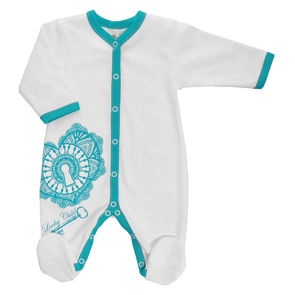 Комбинезон детский Lucky Child, цвет: молочный, бирюзовый. 14-1. Размер 80/8614-1Детский комбинезон Lucky Child - очень удобный и практичный вид одежды для малышей. Комбинезон выполнен из натурального хлопка, благодаря чему он необычайно мягкий и приятный на ощупь, не раздражает нежную кожу ребенка и хорошо вентилируется, а эластичные швы приятны телу малыша и не препятствуют его движениям. Комбинезон с длинными рукавами и закрытыми ножками имеет застежки-кнопки от горловины до щиколоток, которые помогают легко переодеть младенца или сменить подгузник. Оформлена модель оригинальны принтом с изображением необычного сердечка и ключа от него, а также принтовой надписью с названием бренда. С детским комбинезоном Lucky Child спинка и ножки вашего малыша всегда будут в тепле, он идеален для использования днем и незаменим ночью. Комбинезон полностью соответствует особенностям жизни младенца в ранний период, не стесняя и не ограничивая его в движениях!
