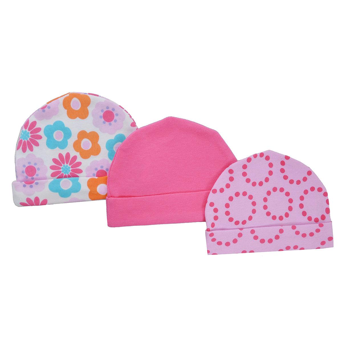 Шапочка для новорожденного Luvable Friends, цвет: розовый, белый, 3 шт. 34556. Размер 55/67, 0-6 месцев