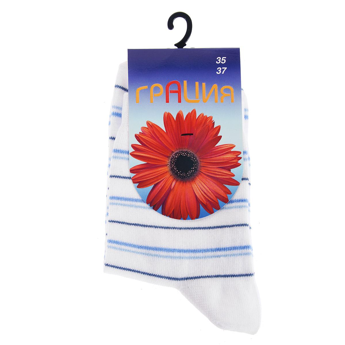 Носки женские Грация, цвет: белый, голубой. М 1004-1-АВ. Размер 35/37М 1004-1-АБКлассические носочки из натуральных материалов, изготовленные по особой технологии в соответствии с мировыми стандартами качества.
