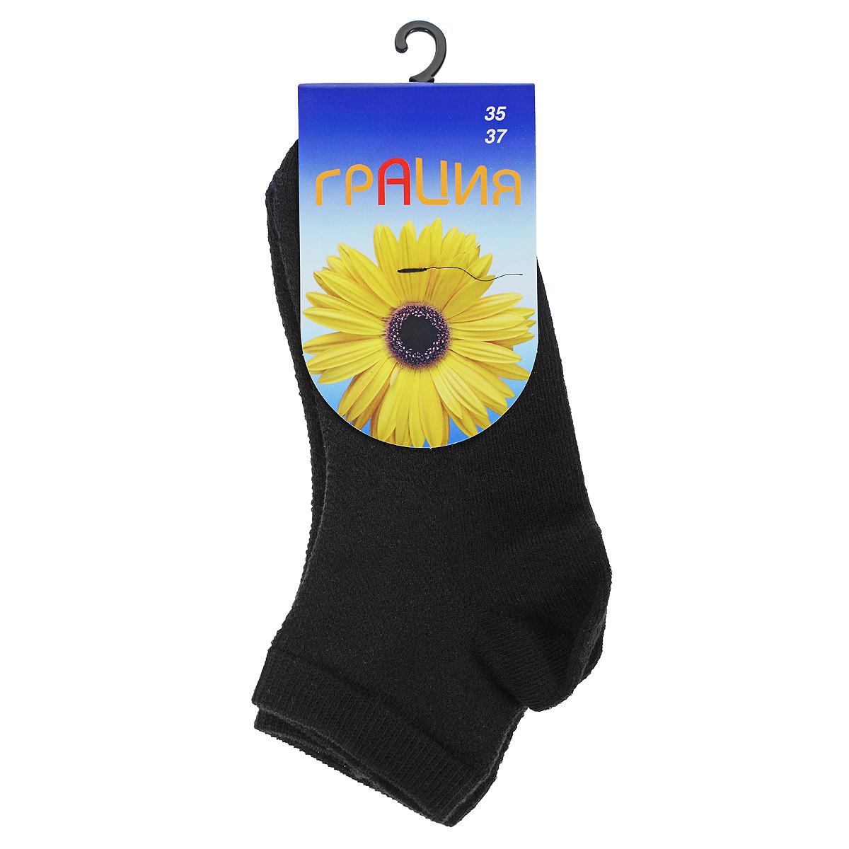 Носки женские Грация, цвет: черный. H 004-16. Размер 35/37H 004-16Однотонные носочки, укороченный паголенок, передняя часть носка и паголенок в виде сеточки.