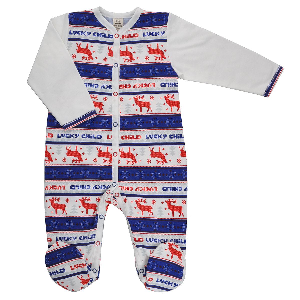 Комбинезон детский Lucky Child Скандинавия, цвет: молочный, синий, красный. 10-1. Размер 56/6210-1_футерДетский комбинезон Lucky Child Скандинавия - очень удобный и практичный вид одежды для малышей. Комбинезон выполнен из теплого футера - натурального хлопка, благодаря чему он необычайно мягкий и приятный на ощупь, не раздражает нежную кожу ребенка и хорошо вентилируется, а эластичные швы приятны телу малыша и не препятствуют его движениям. Комбинезон с длинными рукавами и закрытыми ножками имеет застежки-кнопки от горловины до щиколоток, которые помогают легко переодеть младенца или сменить подгузник. Оформлена модель модным скандинавским принтом. С детским комбинезоном Lucky Child спинка и ножки вашего малыша всегда будут в тепле, он идеален для использования днем и незаменим ночью. Комбинезон полностью соответствует особенностям жизни младенца в ранний период, не стесняя и не ограничивая его в движениях!