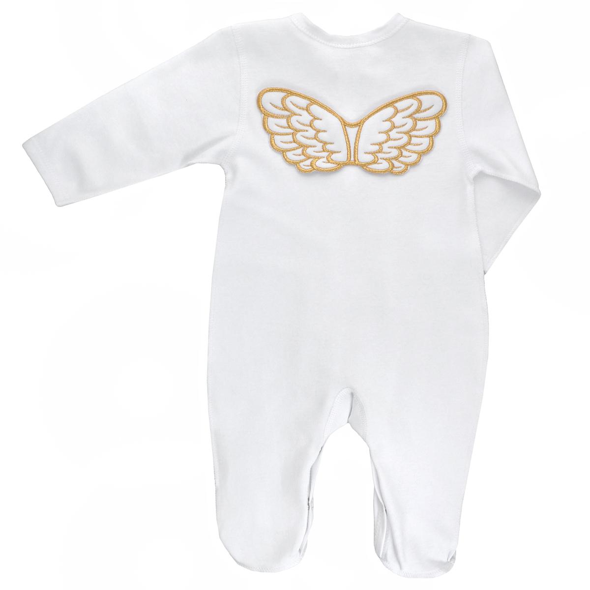 Комбинезон детский Lucky Child Ангелы, цвет: белый. 17-1. Размер 74/8017-1Детский комбинезон Lucky Child Ангелы - очень удобный и практичный вид одежды для малышей. Комбинезон выполнен из интерлока - натурального хлопка, благодаря чему он необычайно мягкий и приятный на ощупь, не раздражает нежную кожу ребенка и хорошо вентилируется, а эластичные швы приятны телу малыша и не препятствуют его движениям. Комбинезон с длинными рукавами и закрытыми ножками, выполненный швами наружу, имеет застежки-кнопки от горловины до щиколоток, которые помогают легко переодеть младенца или сменить подгузник.Комбинезон на груди оформлен надписью в виде логотипа бренда и изображением крылышек, а на спинке дополнен текстильными крылышками, вышитыми металлизированной нитью. С детским комбинезоном Lucky Child спинка и ножки вашего малыша всегда будут в тепле, он идеален для использования днем и незаменим ночью. Комбинезон полностью соответствует особенностям жизни младенца в ранний период, не стесняя и не ограничивая его в движениях!
