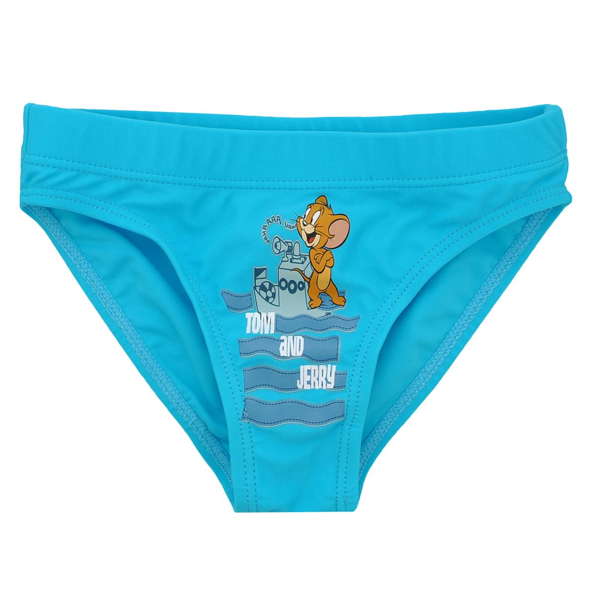 Плавки для мальчика Tom and Jerry, цвет: бирюзовый. K014. Размер 110, 5 летK014Плавки для мальчика Tom and Jerry - отличный вариант для летнего отдыха на пляже или в бассейне. Они изготовлены из нейлона и спандекса, благодаря чему позволяют коже ребенка дышать, быстро сохнут и сохраняют первоначальный вид и форму даже при длительном использовании. Они комфортны в носке, даже когда ребенок мокрый.Плавки на поясе имеют широкую эластичную резинку, не сдавливающую животик малыша. Модель спереди оформлена оригинальным принтом в виде забавного Джерри и надписи Tom and Jerry. Такие плавки, несомненно, понравится каждому малышу.