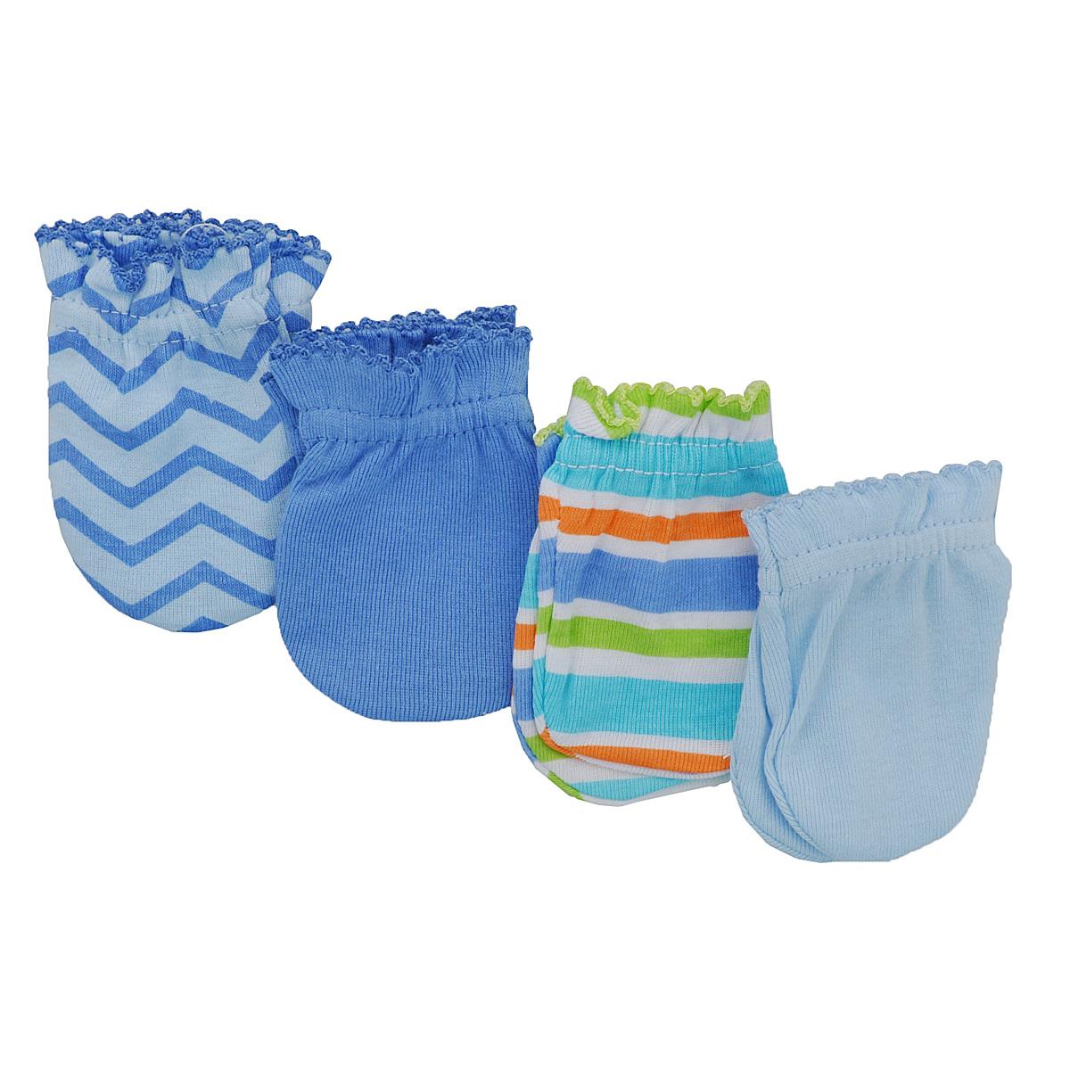 Рукавички для новорожденного Luvable Friends, цвет: голубой, синий, 4 пары. 34711. Размер 55/67, 0-6 месяцев