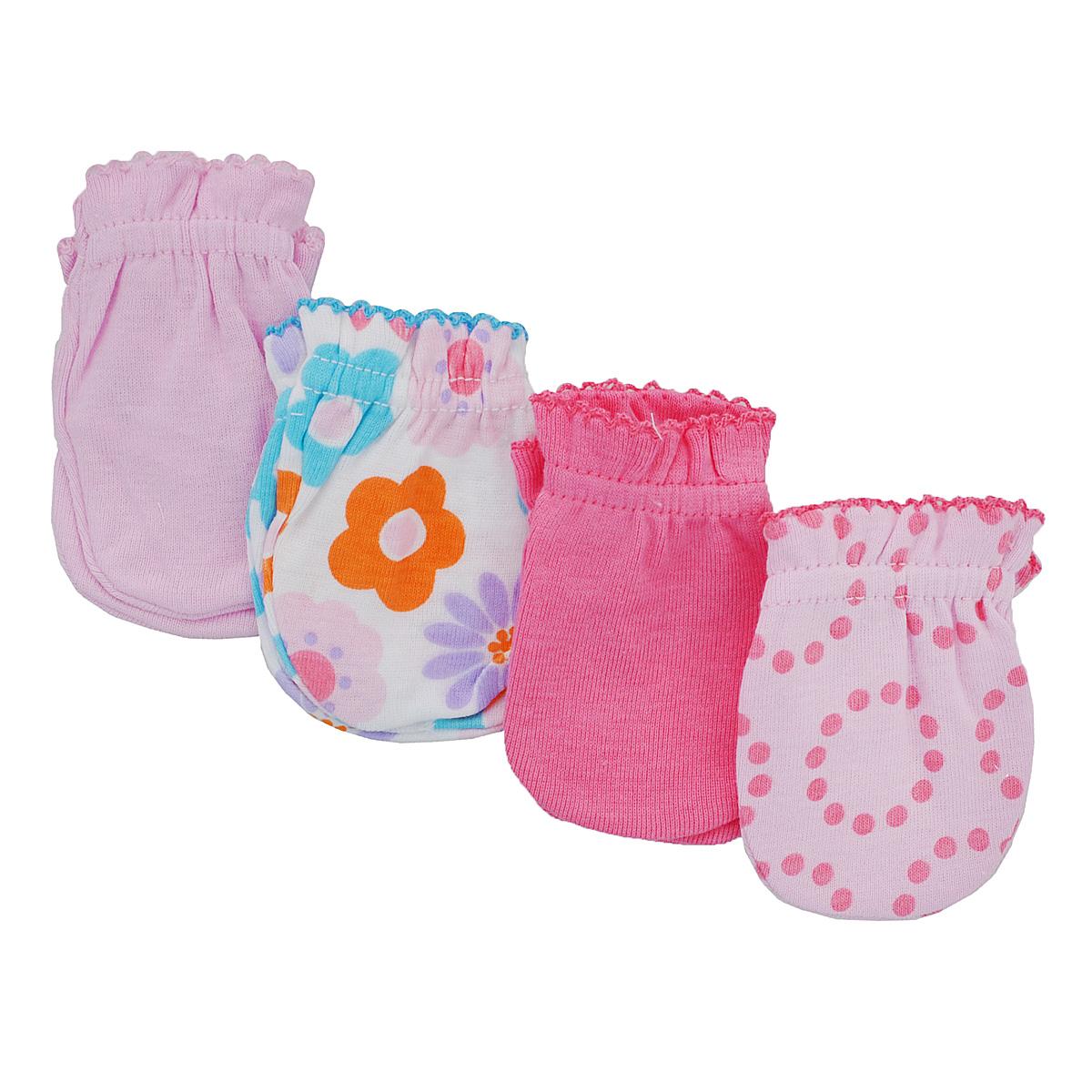 Рукавички для новорожденного Luvable Friends, цвет: розовый, белый, 4 пары. 34711. Размер 55/67, 0-6 месяцев