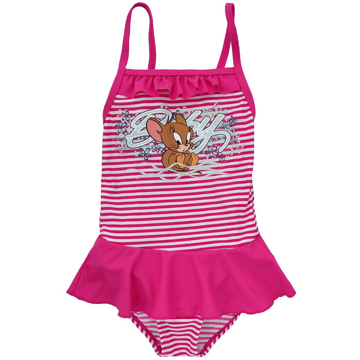 Купальный костюм для девочки Tom and Jerry, цвет: ярко-розовый, белый. K002. Размер 110, 5 летK002Яркий купальный костюм для девочки Tom and Jerry- отличный вариант для летнего отдыха на пляже или в бассейне. Он изготовлен из нейлона и спандекса, благодаря чему позволяет коже ребенка дышать, быстро сохнет и сохраняет первоначальный вид и форму даже при длительном использовании. Он комфортен в носке, даже когда ребенок мокрый.Слитный купальник на тонких бретельках оформлен принтом в полоску и термоаппликацией в виде забавного Джерри. На груди модель декорирована рюшей, а на поясе очаровательной однотонной оборкой, имитирующей юбочку.Такой купальник, несомненно, понравится даже самой маленькой моднице.