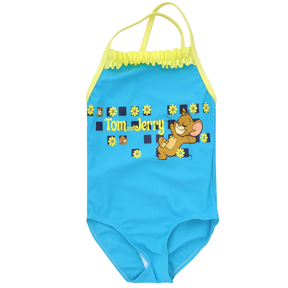 Купальный костюм для девочки Tom and Jerry, цвет: бирюзовый, лимонный. K009. Размер 110, 5 летK009Яркий купальный костюм для девочки Tom and Jerry- отличный вариант для летнего отдыха на пляже или в бассейне. Он изготовлен из нейлона и спандекса, благодаря чему позволяет коже ребенка дышать, быстро сохнет и сохраняет первоначальный вид и форму даже при длительном использовании. Он комфортен в носке, даже когда ребенок мокрый.Слитный купальник на тонких бретельках контрастного цвета оформлен оригинальным принтом в виде забавного Джерри и надписи «Tom and Jerry». Бретельки на спинке перекрещиваются. На груди модель декорирована рюшей контрастного цвета.Такой купальник, несомненно, понравится даже самой маленькой моднице.