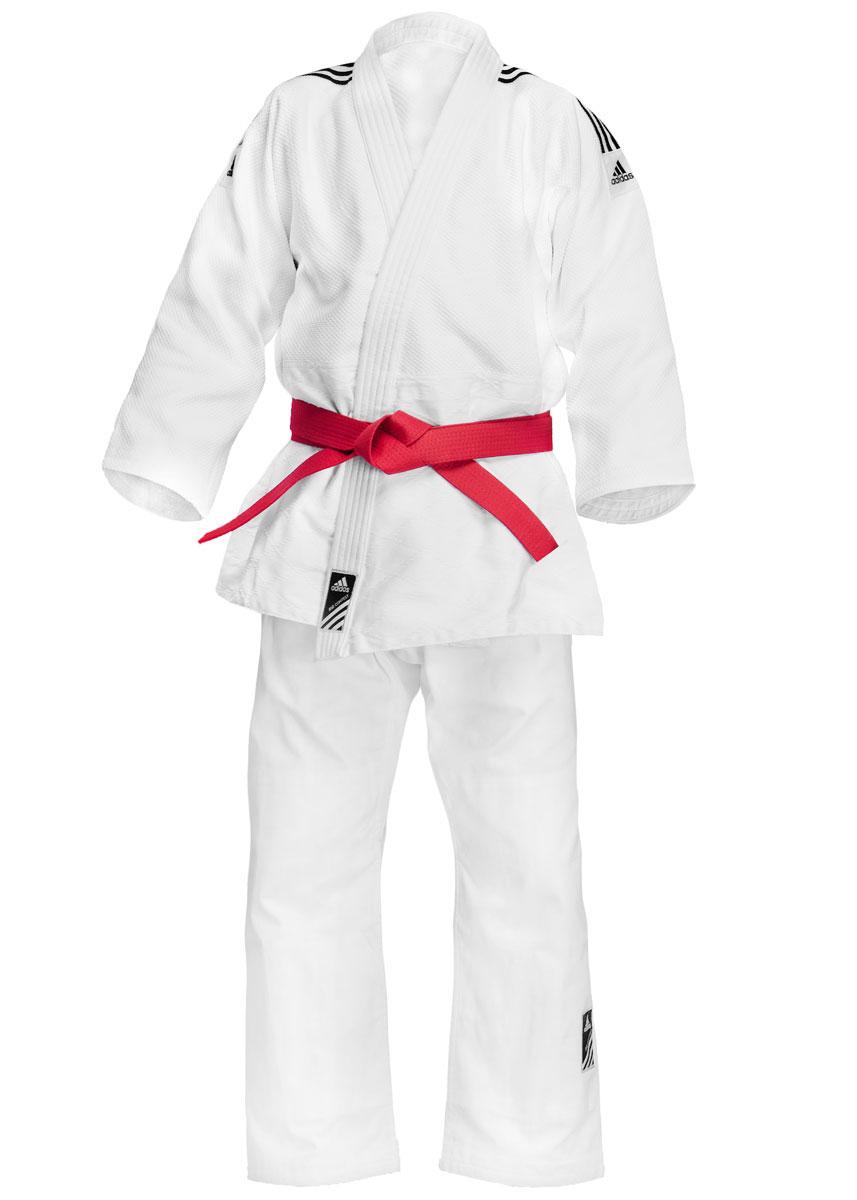 Кимоно для дзюдо adidas Training, цвет: белый. J500. Размер 140J500Кимоно для дзюдо adidas Training состоит из рубашки и брюк. Просторная рубашка с запахом, боковыми разрезами и длинными рукавами-кимоно изготовлена из плотного хлопка с добавлением полиэстера и оформлена перекрестным плетением. Боковые швы, края рукавов и полочек, низ рубашки укреплены дополнительными строчками и крепкой лентой с внутренней стороны. Рубашка также укреплена по вертикали спины и в области талии. Плечи оформлена брендовыми полосками. Просторные брюки особого покроя на поясе дополнены скрытым шнурком. Брюки дополнительно укреплены на коленях. Кимоно рекомендуется для тренировок в зале.Плотность 500 гр/см2.