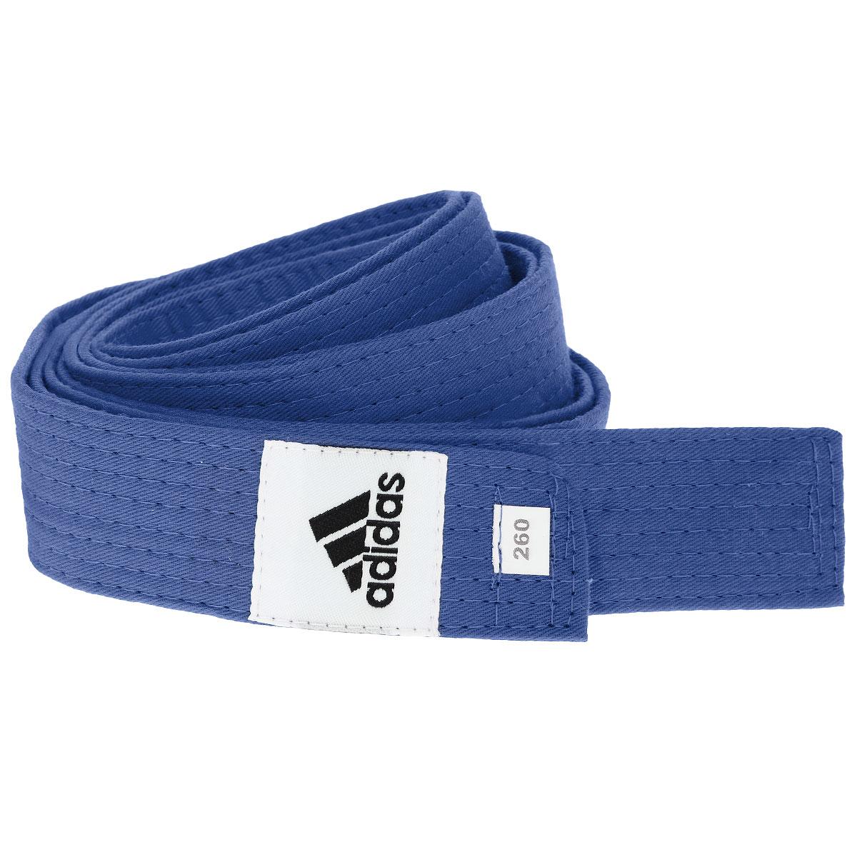 Пояс для единоборств adidas Club, цвет: синий. adiB220. Длина 280 смadiB220Пояс для единоборств adidas Club - универсальный пояс для кимоно. Пояс выполнен из плотного хлопкового материала с прострочкой.Такой пояс - необходимый аксессуар для тех, кто занимается боевыми искусствами.